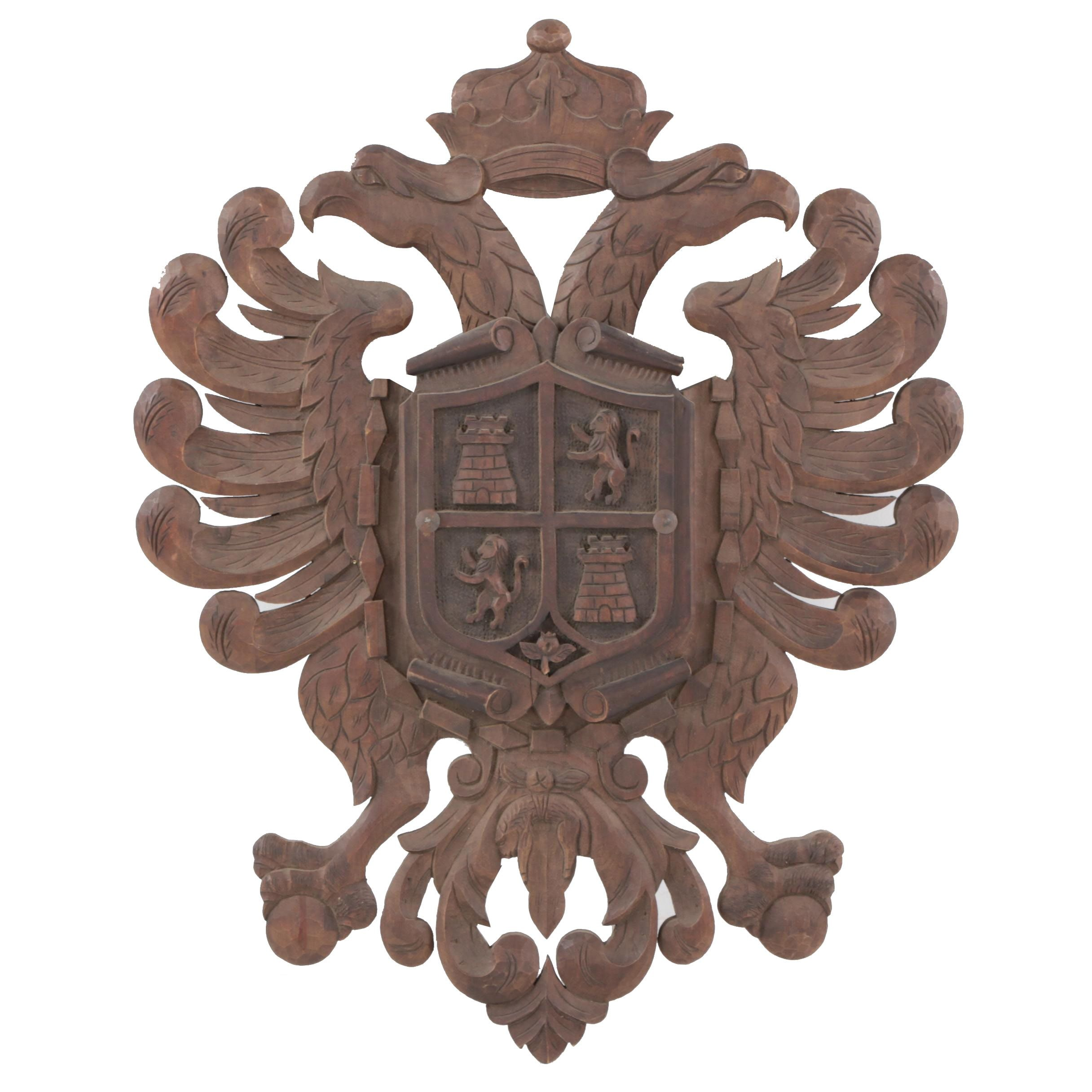 Hand-Carved Coat of Arms, Possibly German or Austrian, 20th Century