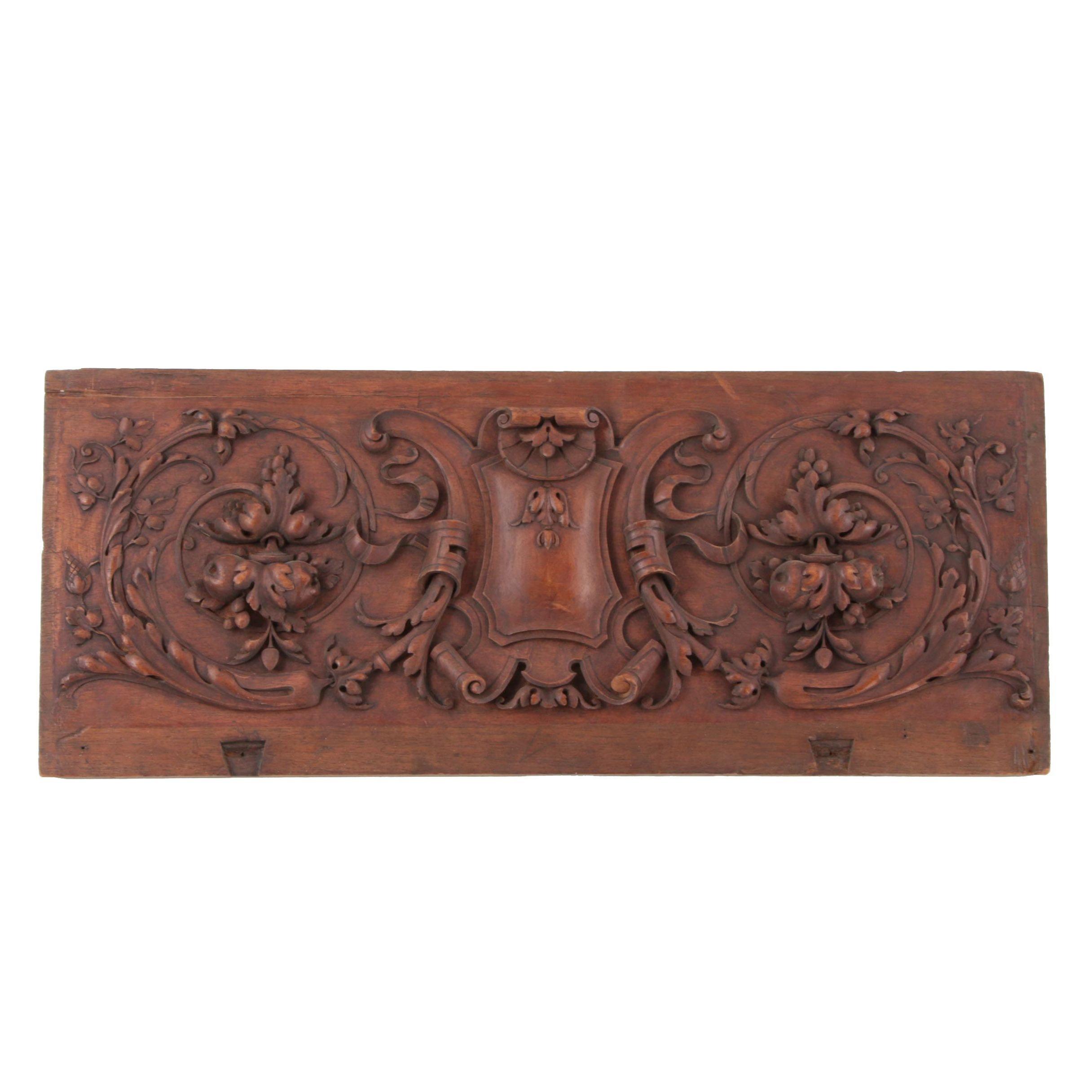 Victorian Renaissance Revival Relief-Carved Walnut Panel, Circa 1880