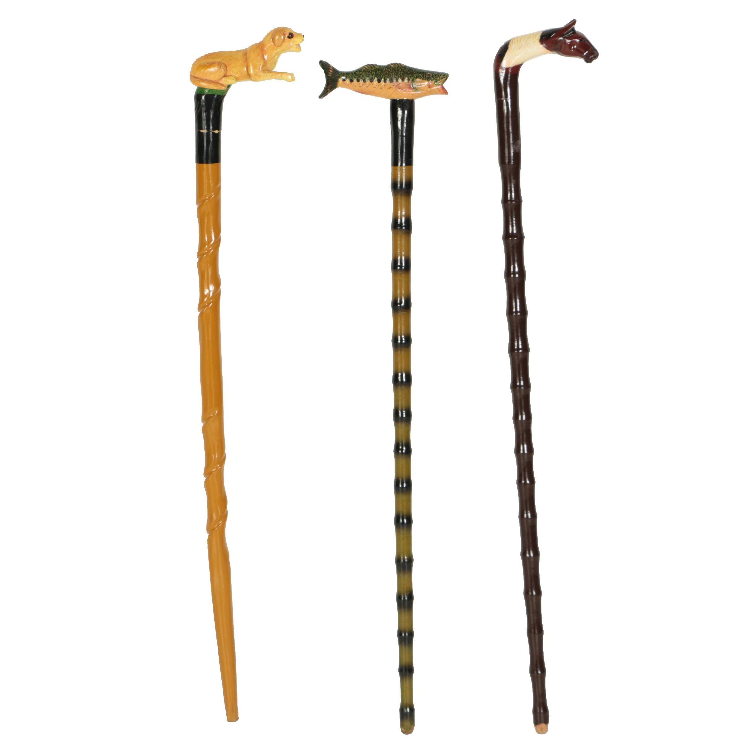 Three Hand Carved Folk Art Walking Sticks