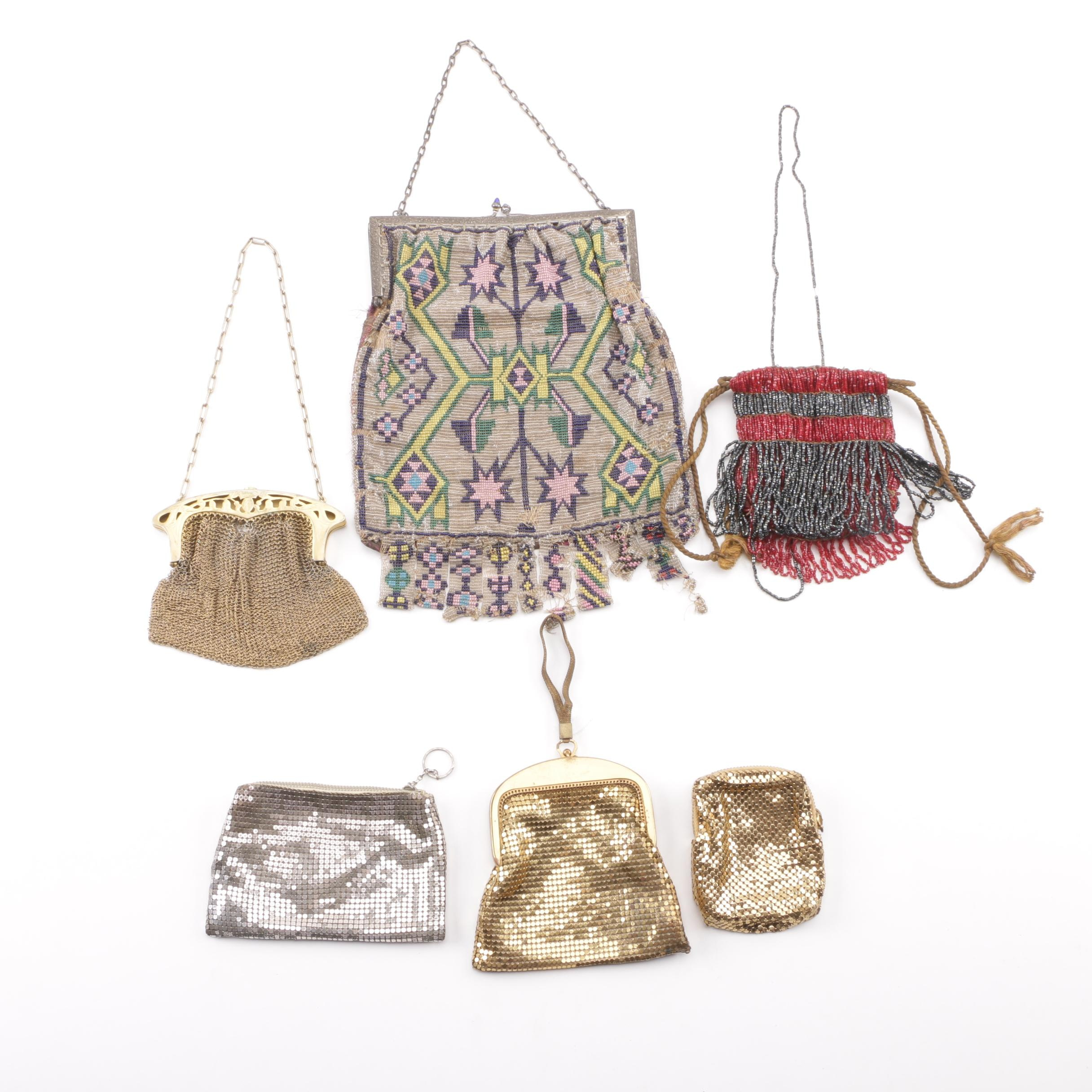 Edwardian Era and Art Deco Metal and Bead Evening Bags with Whiting & Davis