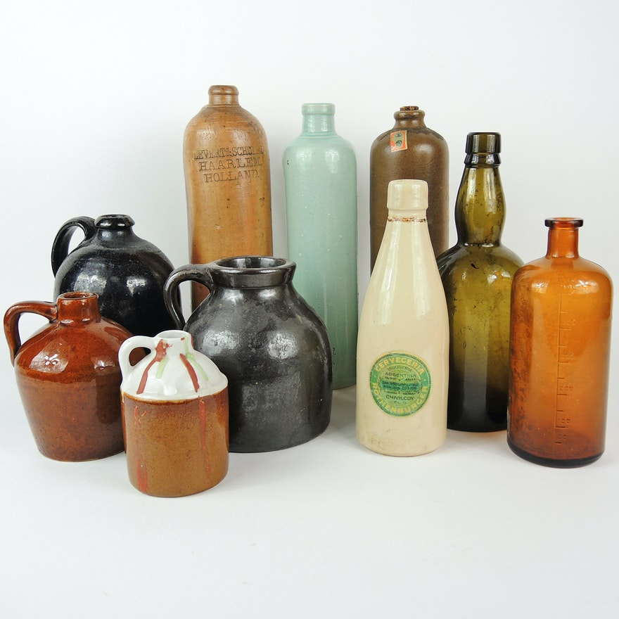 Stoneware Beer Bottles, Mineral Water Bottles, Jugs, and More