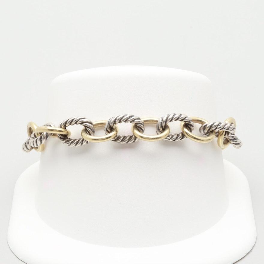 512435056bd1e David Yurman 18K Yellow Gold and Sterling Silver Large Oval Link Bracelet
