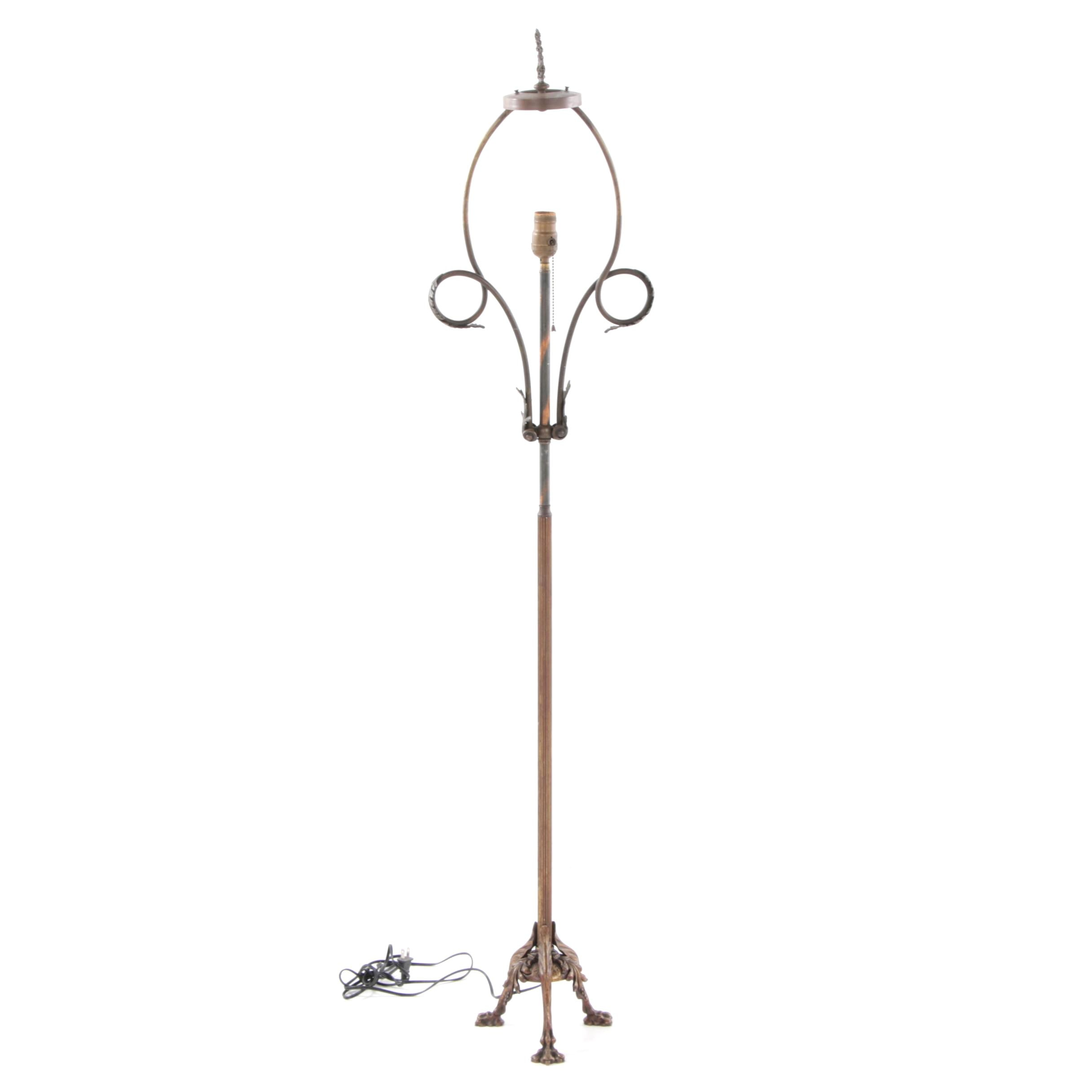 Early 20th Century Metal Claw Foot Floor Lamp