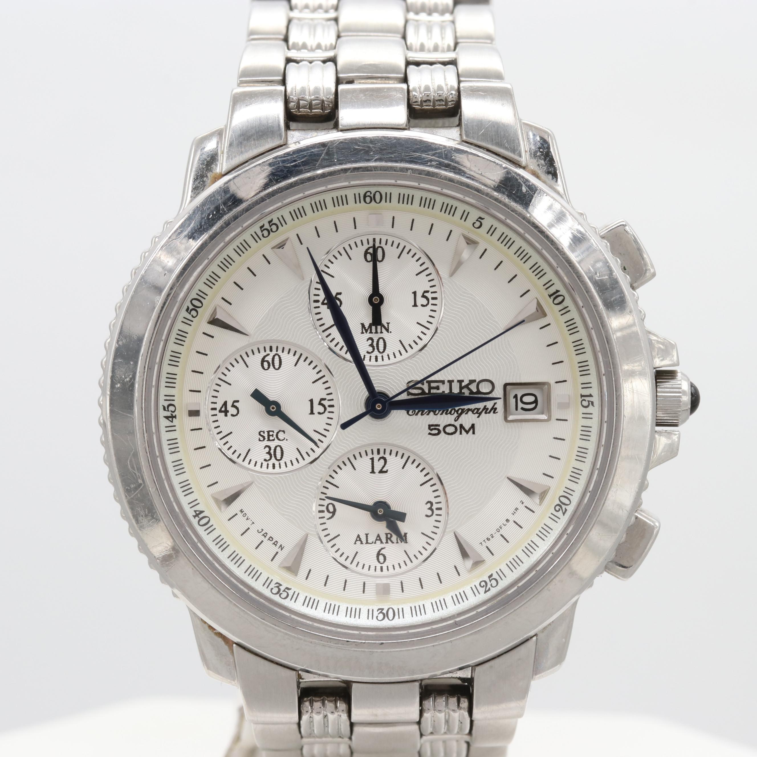 Seiko Stainless Steel Quartz Chronograph Wristwatch