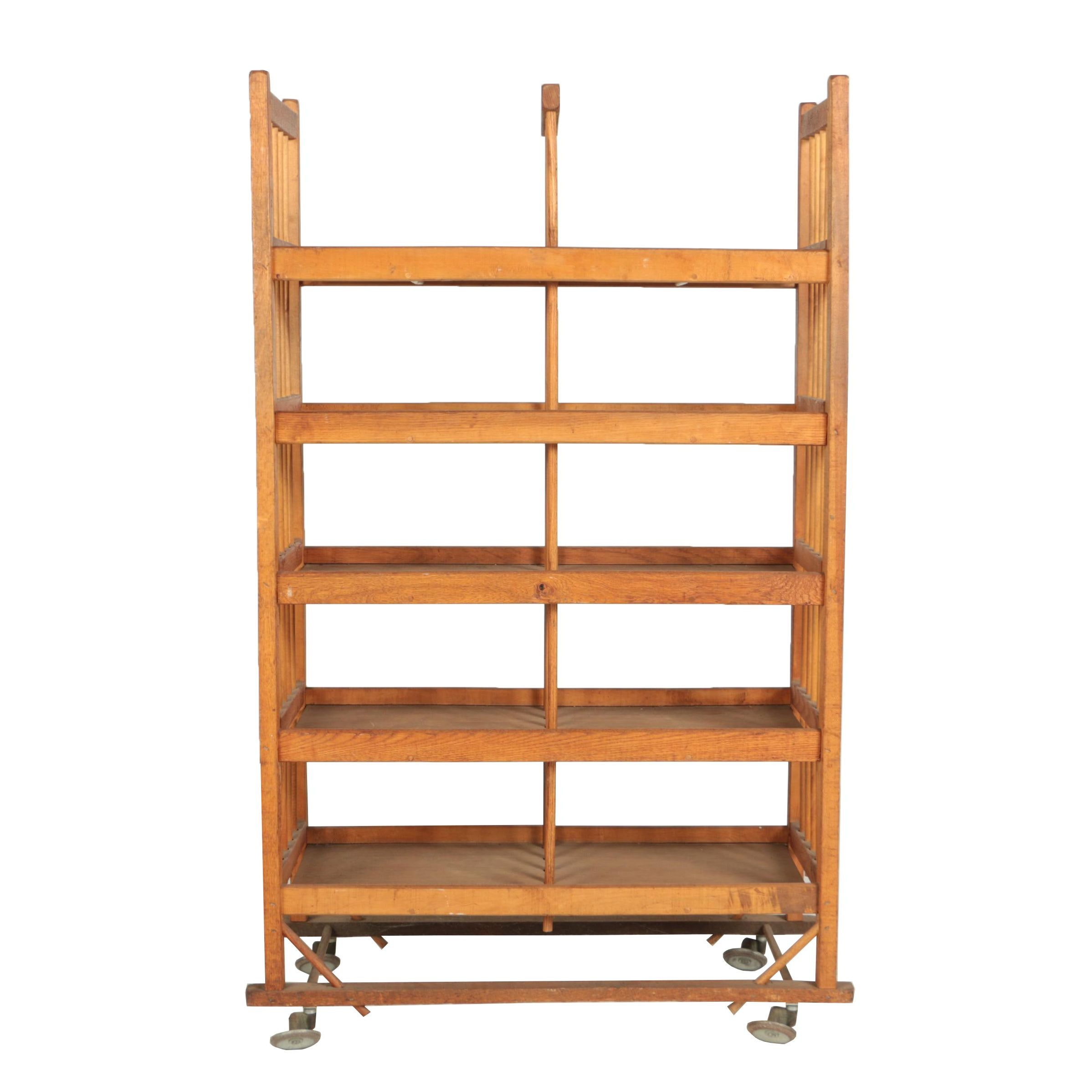 Wooden Five-Tier Industrial Rolling Shoe Rack, Mid 20th Century