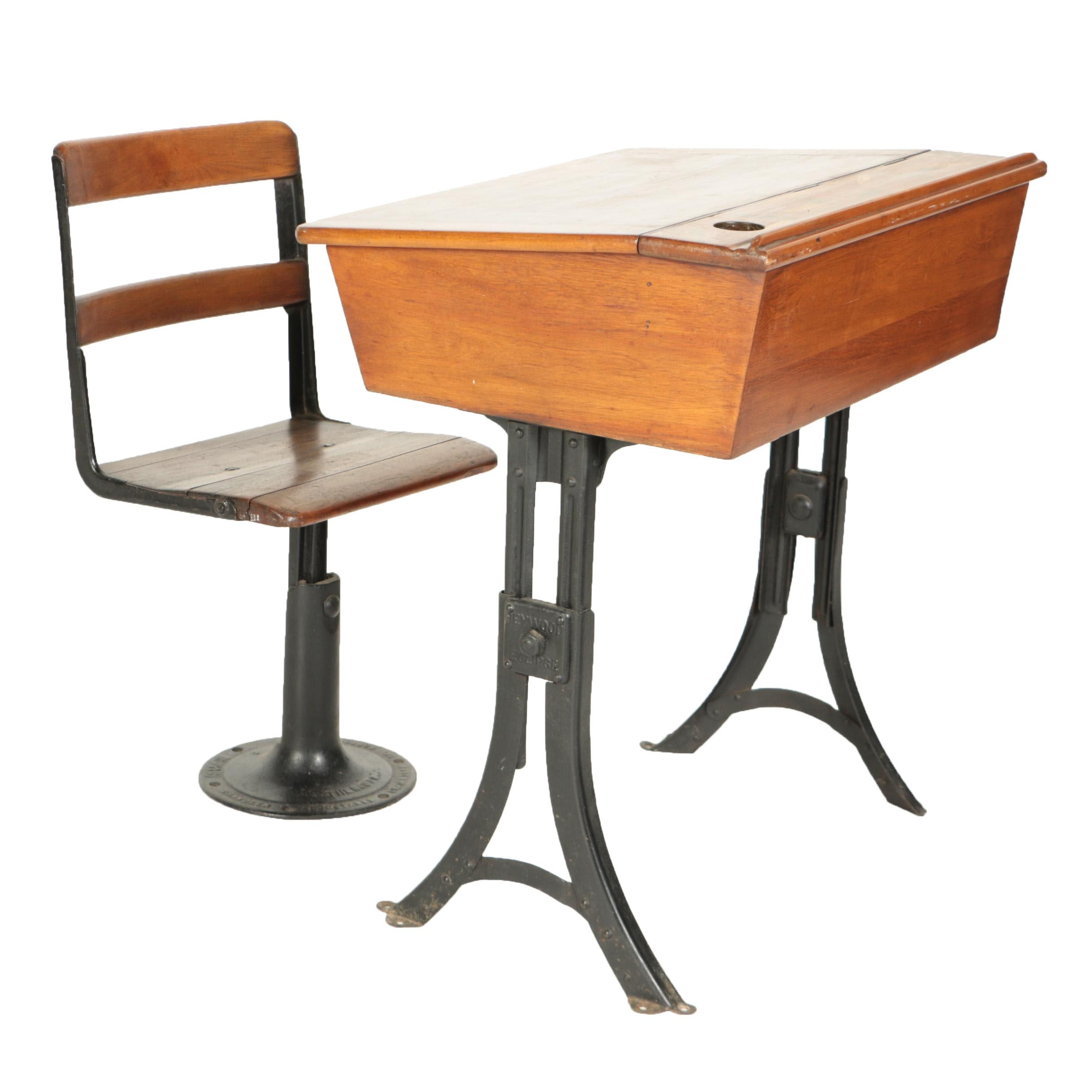 Child's School Desk and Chair with Adjustable Cast Iron Bases