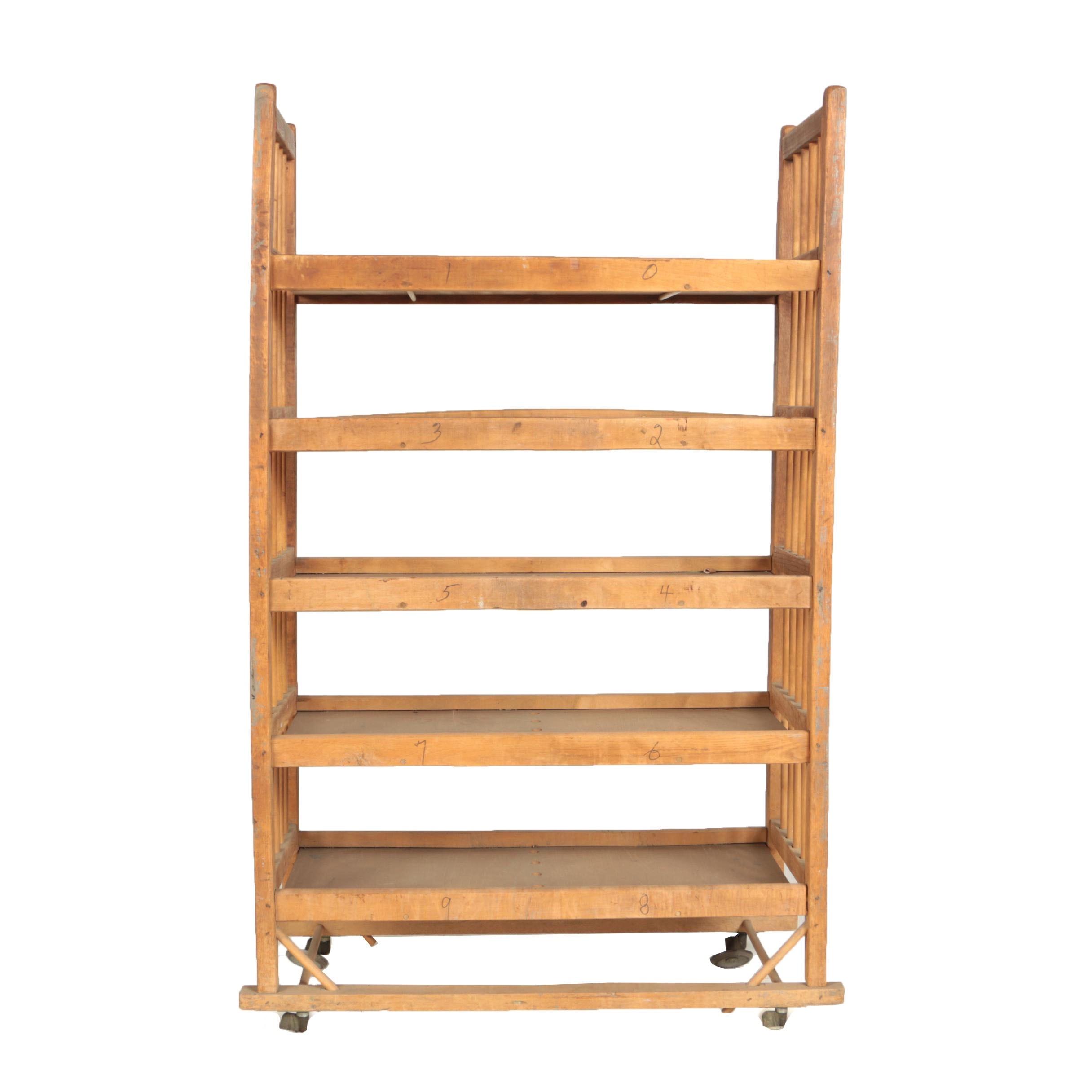Wooden Five-Tier Industrial Rolling Shoe Rack, Mid 20th Century
