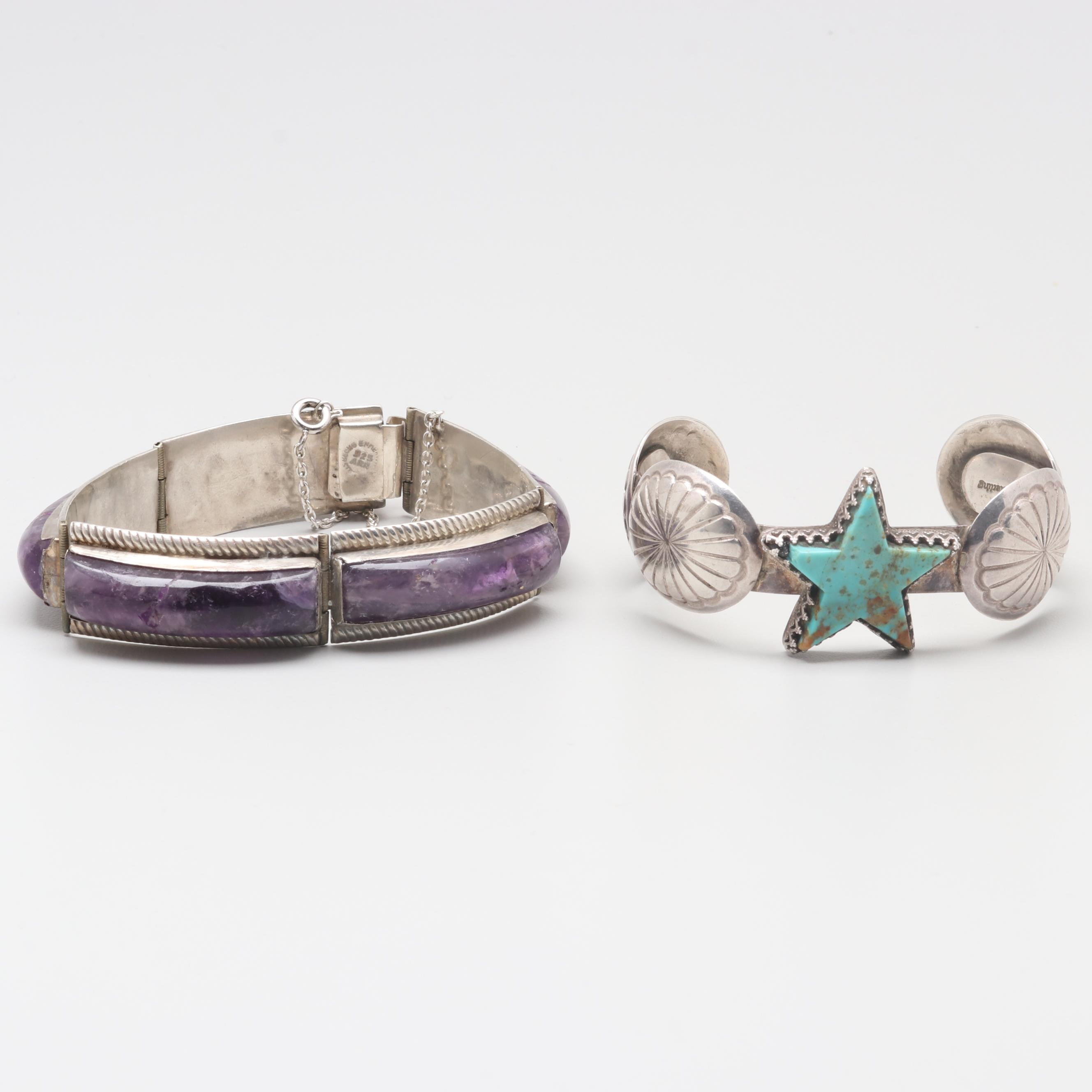 Sterling Amethyst and Turquoise Bracelets Featuring Robert Haley Navajo Diné