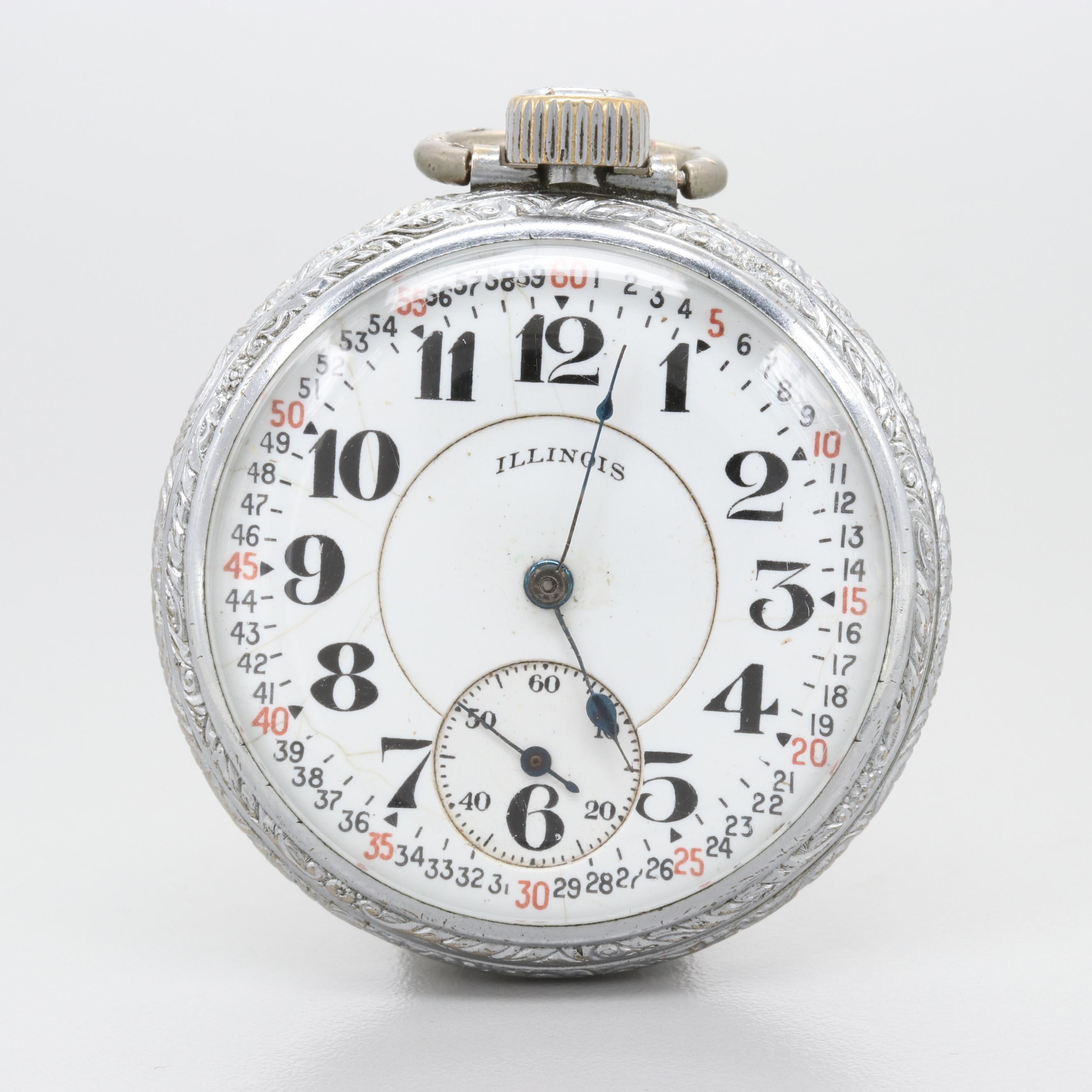 Circa 1912 Illinois Base Metal Pocket Watch With Double Sunk Dial