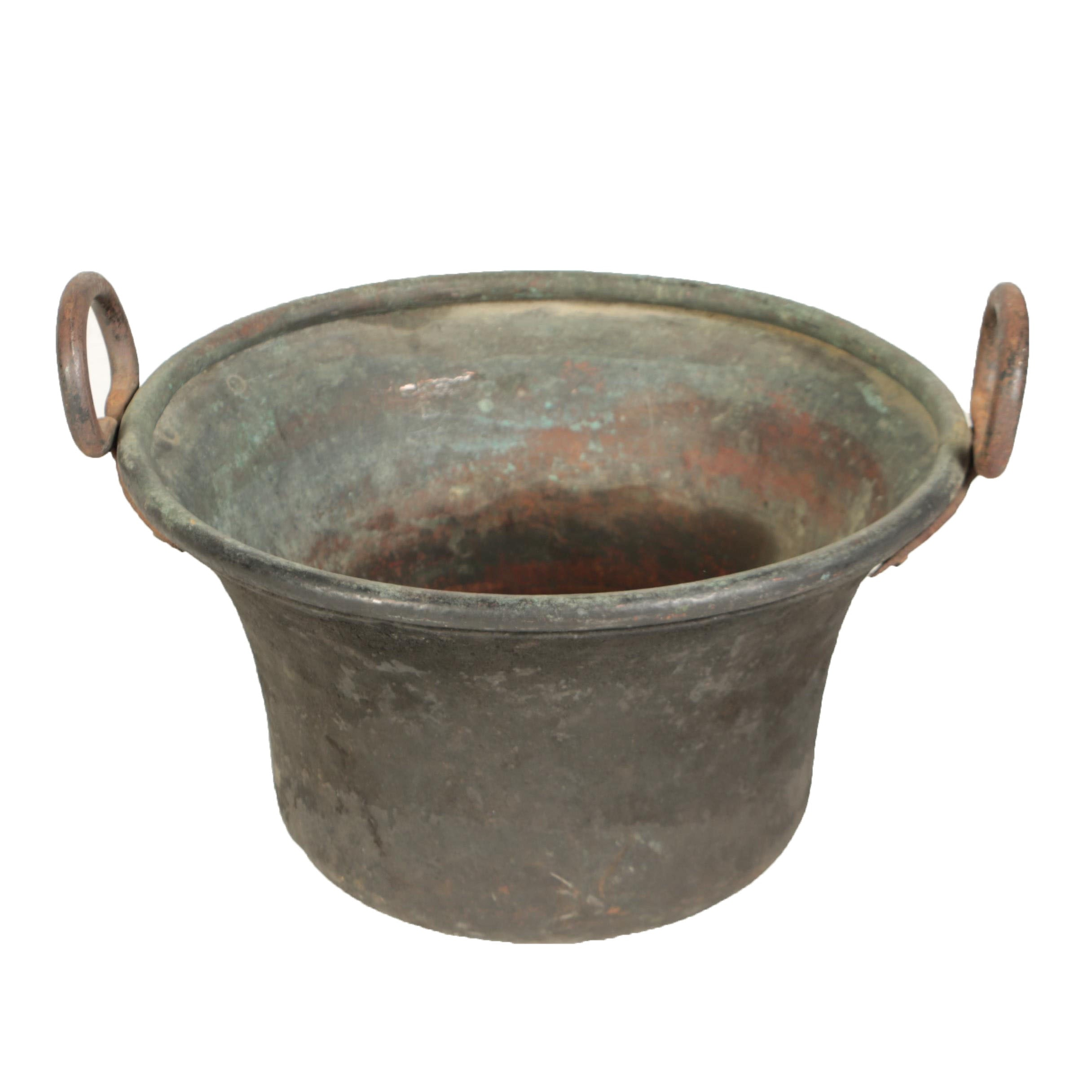 Large Copper Pot With Hand Forged Iron Side Handles