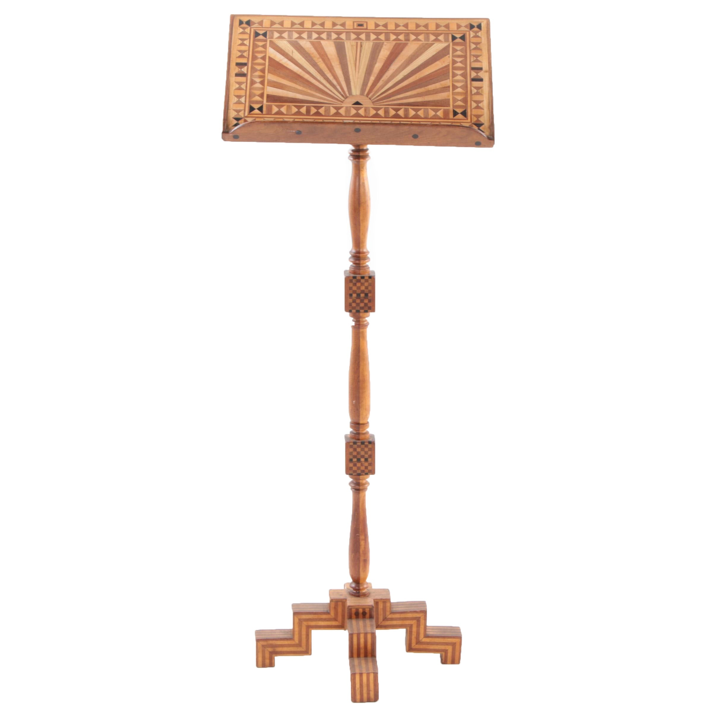 American Folk Art Parquetry Music Stand or Speaker's Podium, Early 20th Century