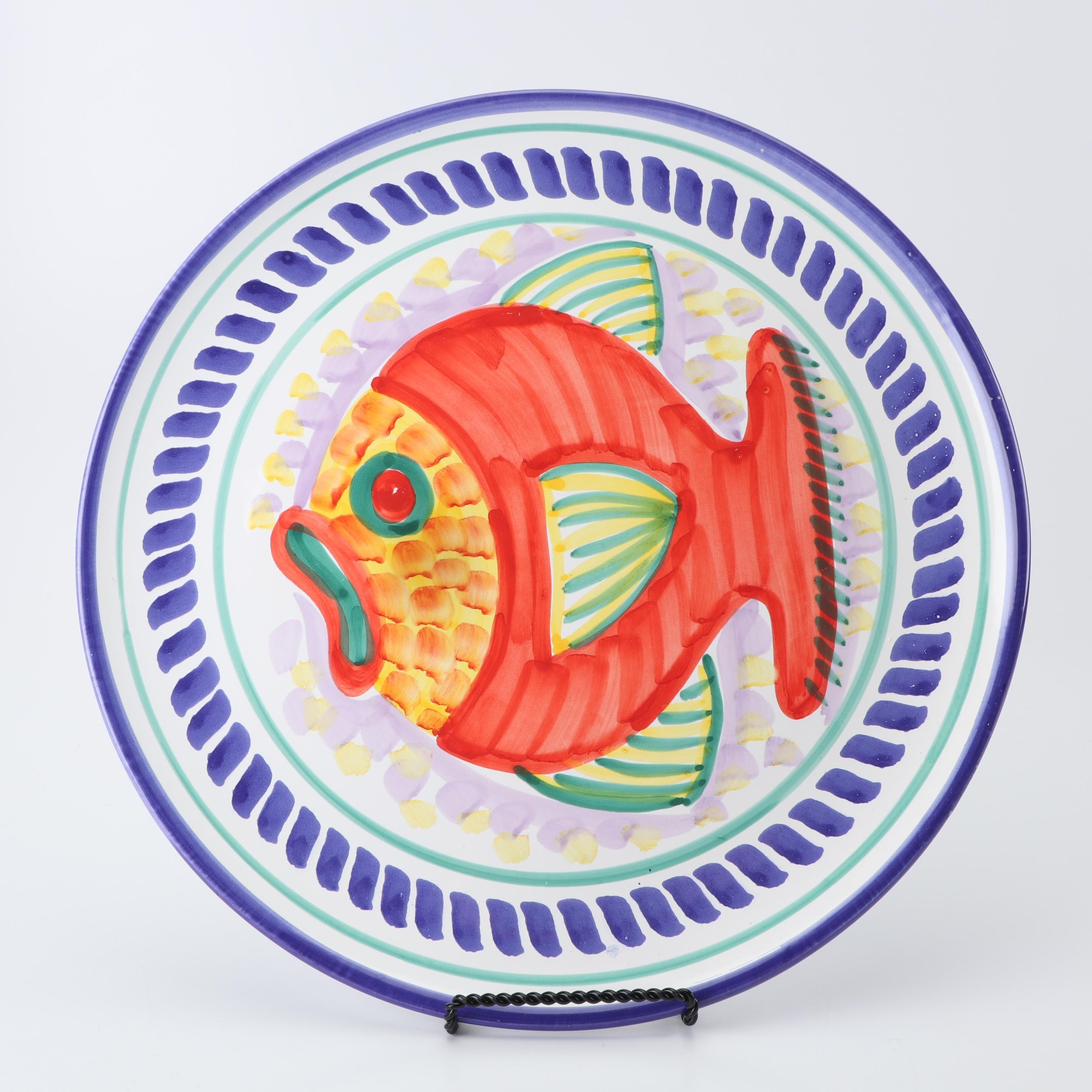 Italian Hand-Painted Ceramic Platter with Fish