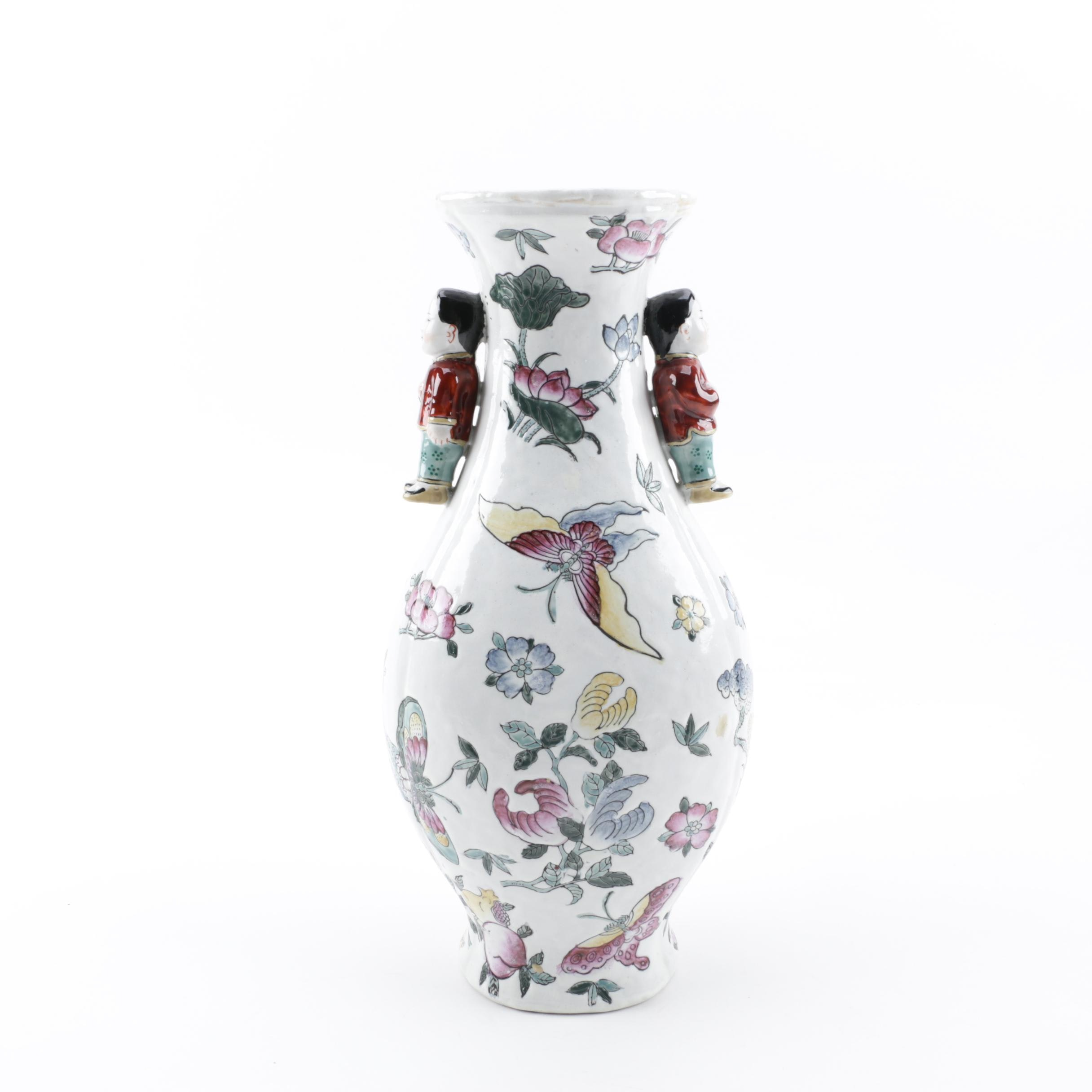 Chinese Floral and Butterfly Themed Vase with Figurative Handles
