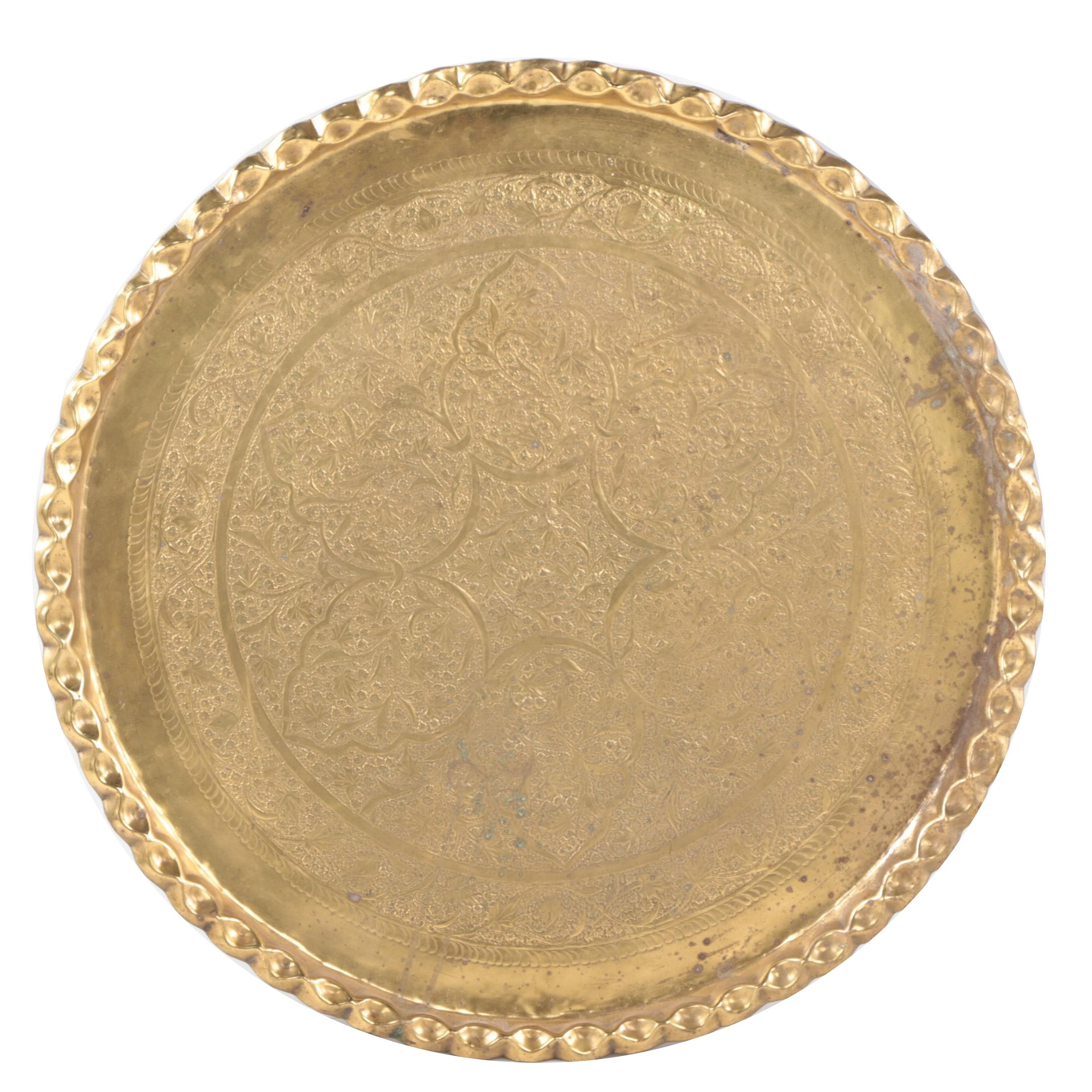 Large Hammered Brass Wall Hanging Tray
