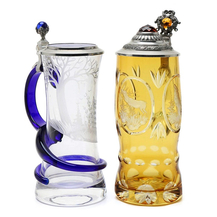 Poschinger German Art Glass Beer Stein And Citrine Cut To Clear Glass Stein