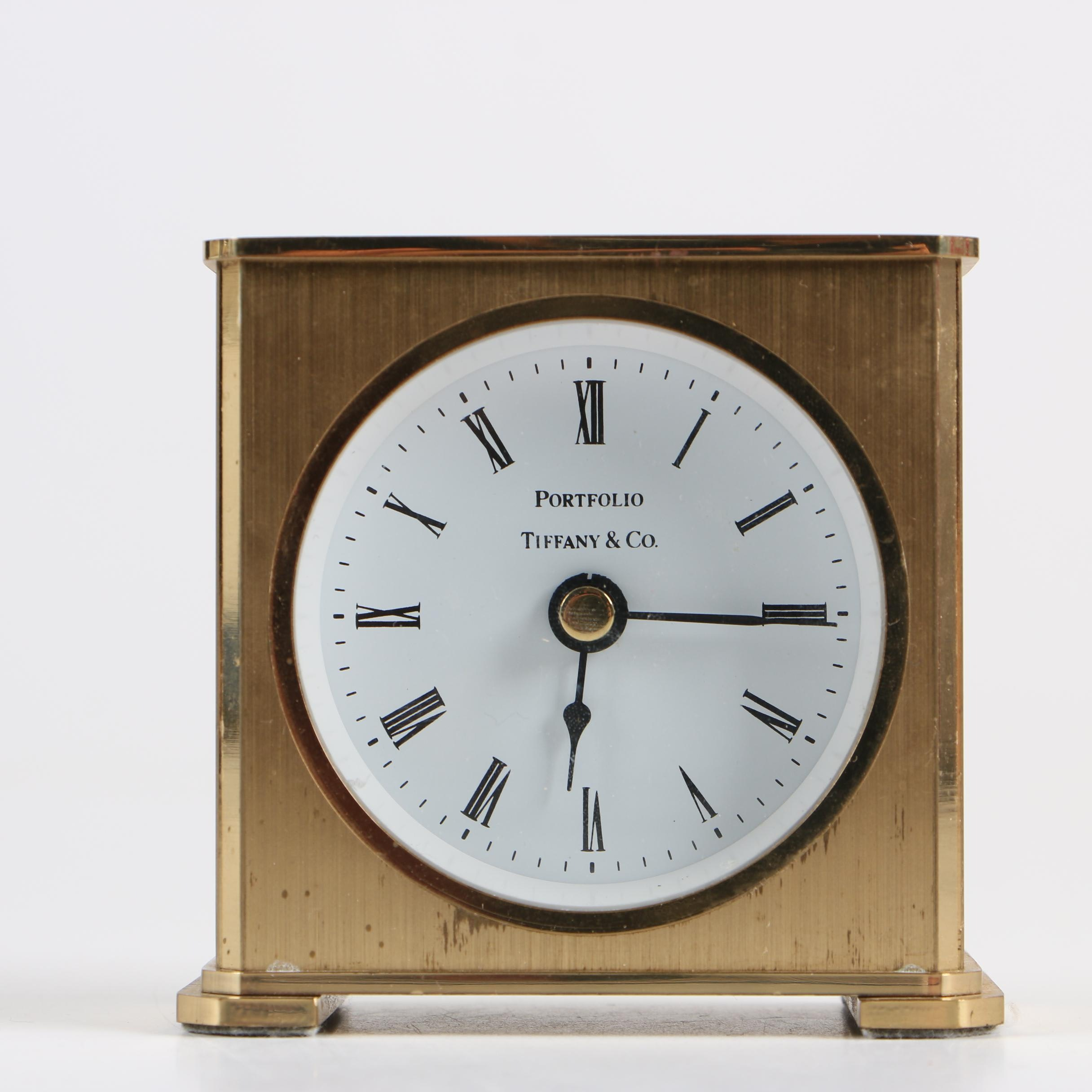 "Tiffany & Co. ""Portfolio"" Brass Desk Clock"
