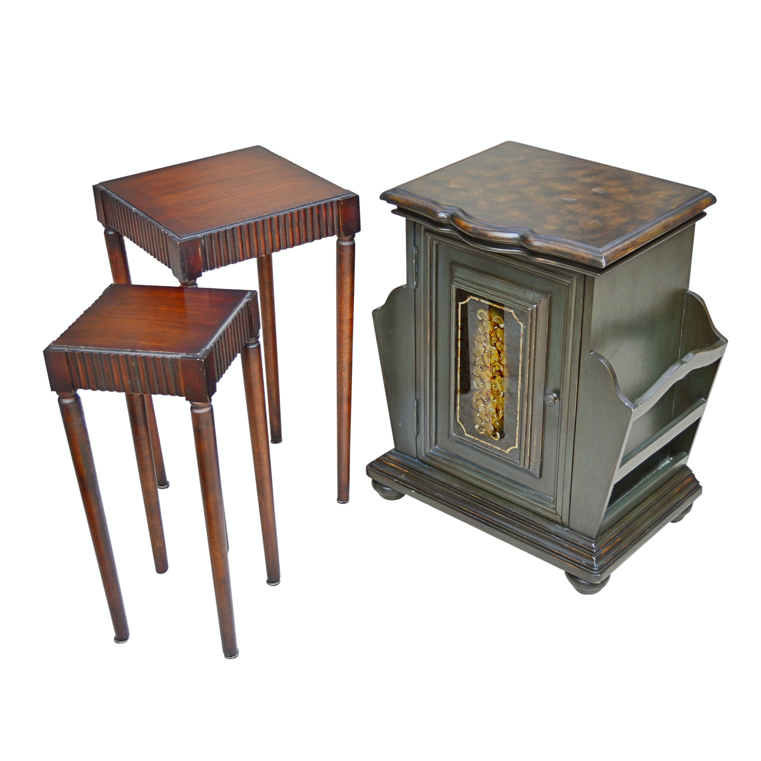 Neoclassic Style Stacking Tables and Victorian Style Magazine Stand