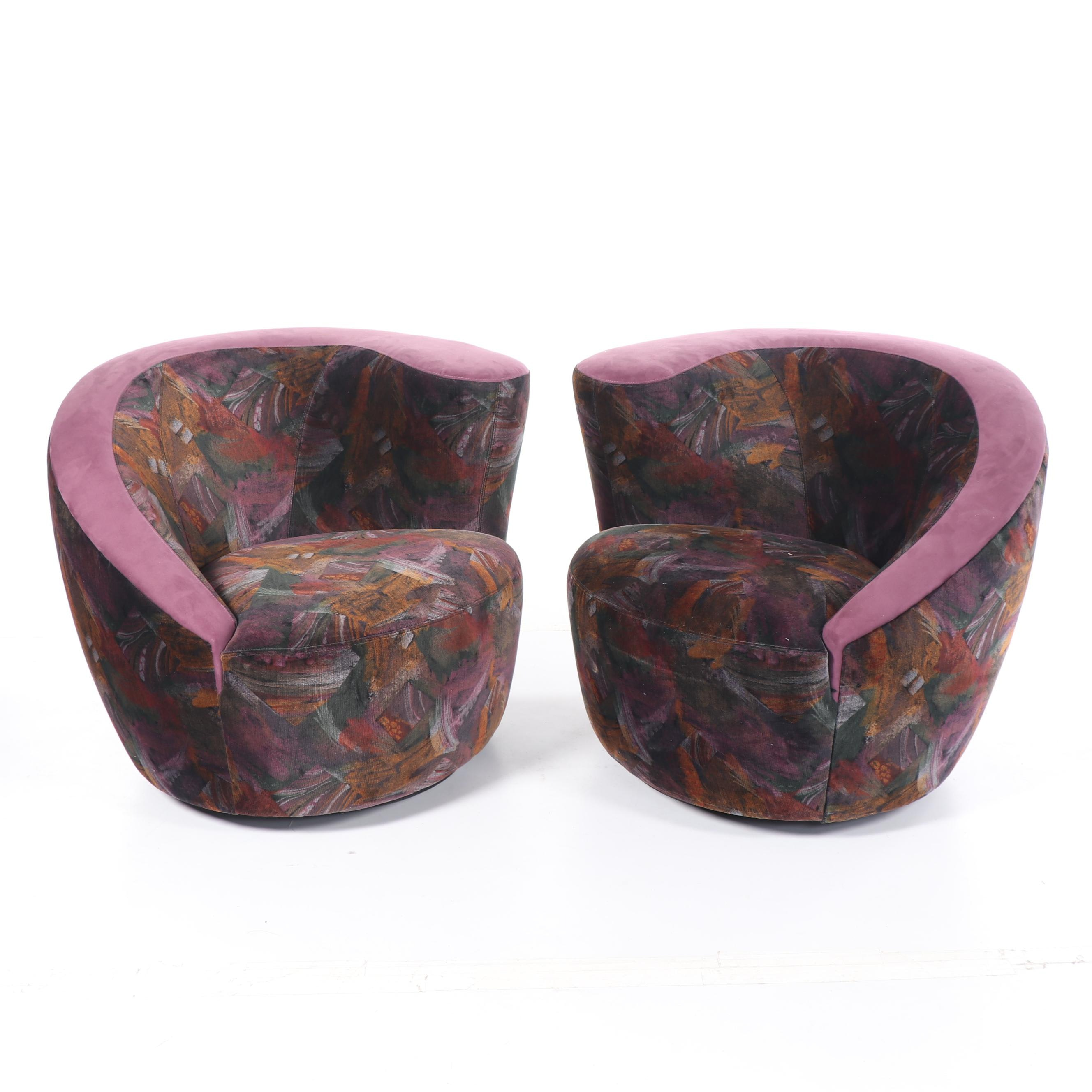 Nautilus Style Upholstered Swivel Chairs, Late 20th Century