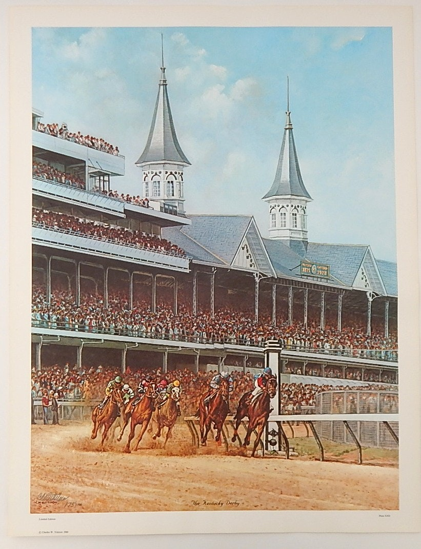 """Unframed C. W. Vittitow Signed Limited Offset Lithograph """"The Kentucky Derby"""""""