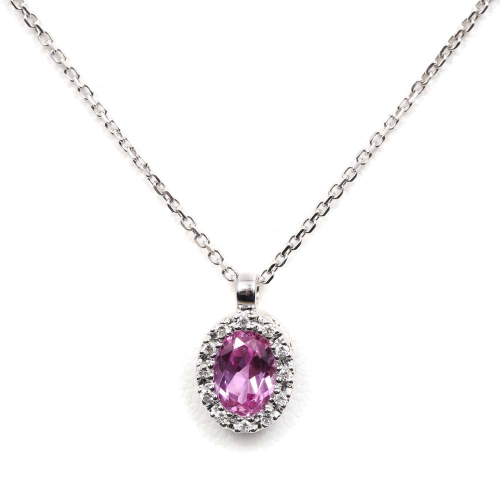 Gabriel & Co. 14K White Gold Pink Sapphire and Diamond Halo Pendant Necklace