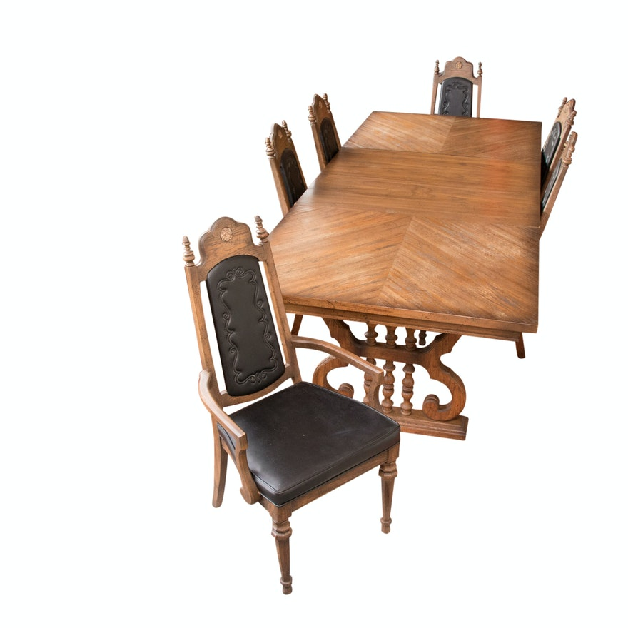 Stupendous Mediterranean Style Oak Dining Table And Chairs Circa 1970S Download Free Architecture Designs Rallybritishbridgeorg