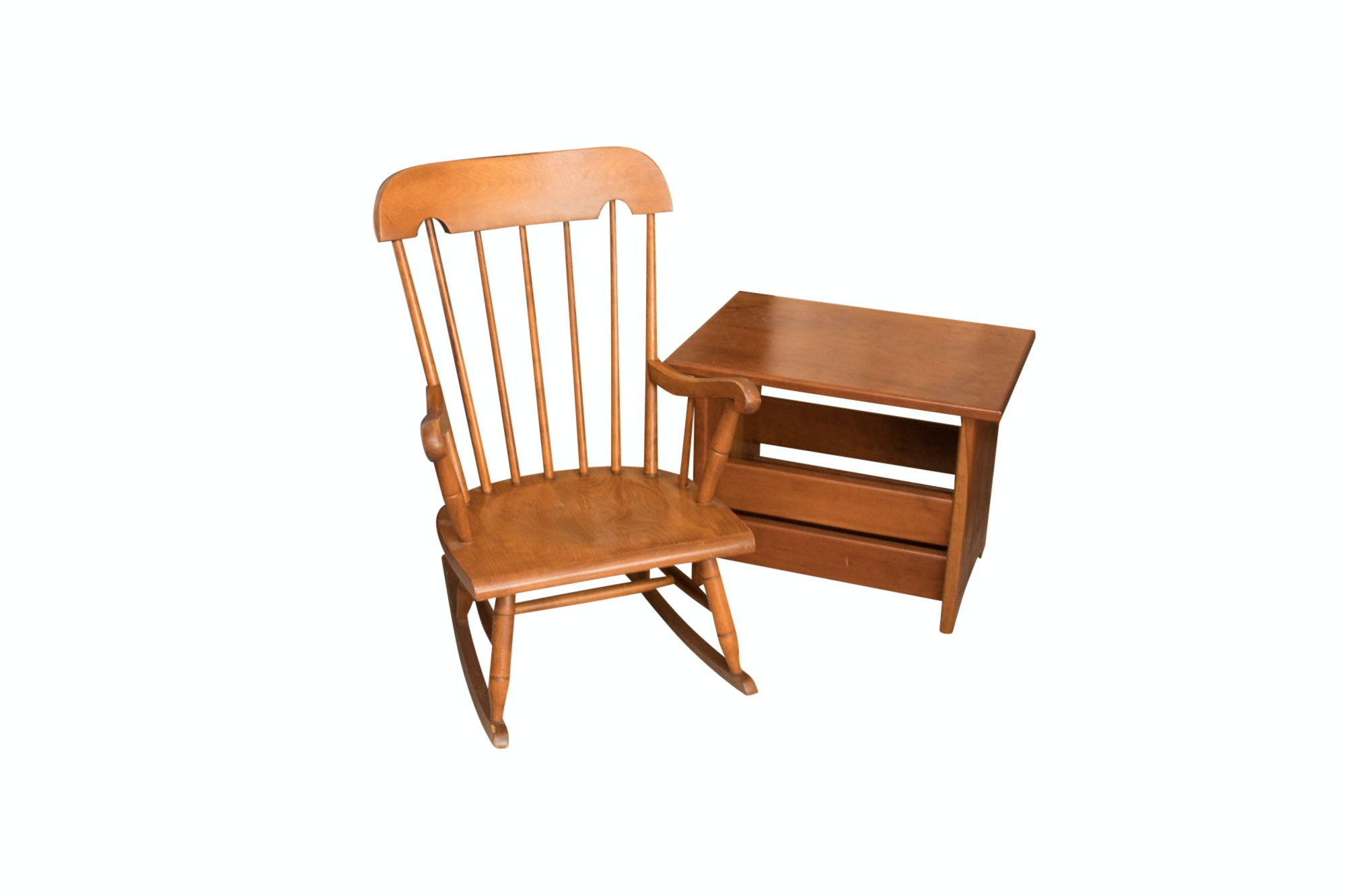 Child's Wood Rocking Chair and Walnut Reading Stand, 20th Century