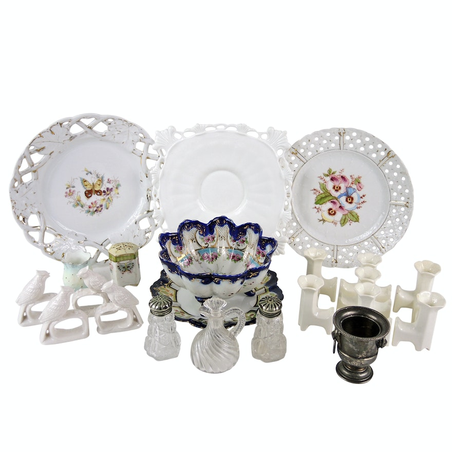Tableware Including Prescut Shakers and Max Roesler China Circa 1920s
