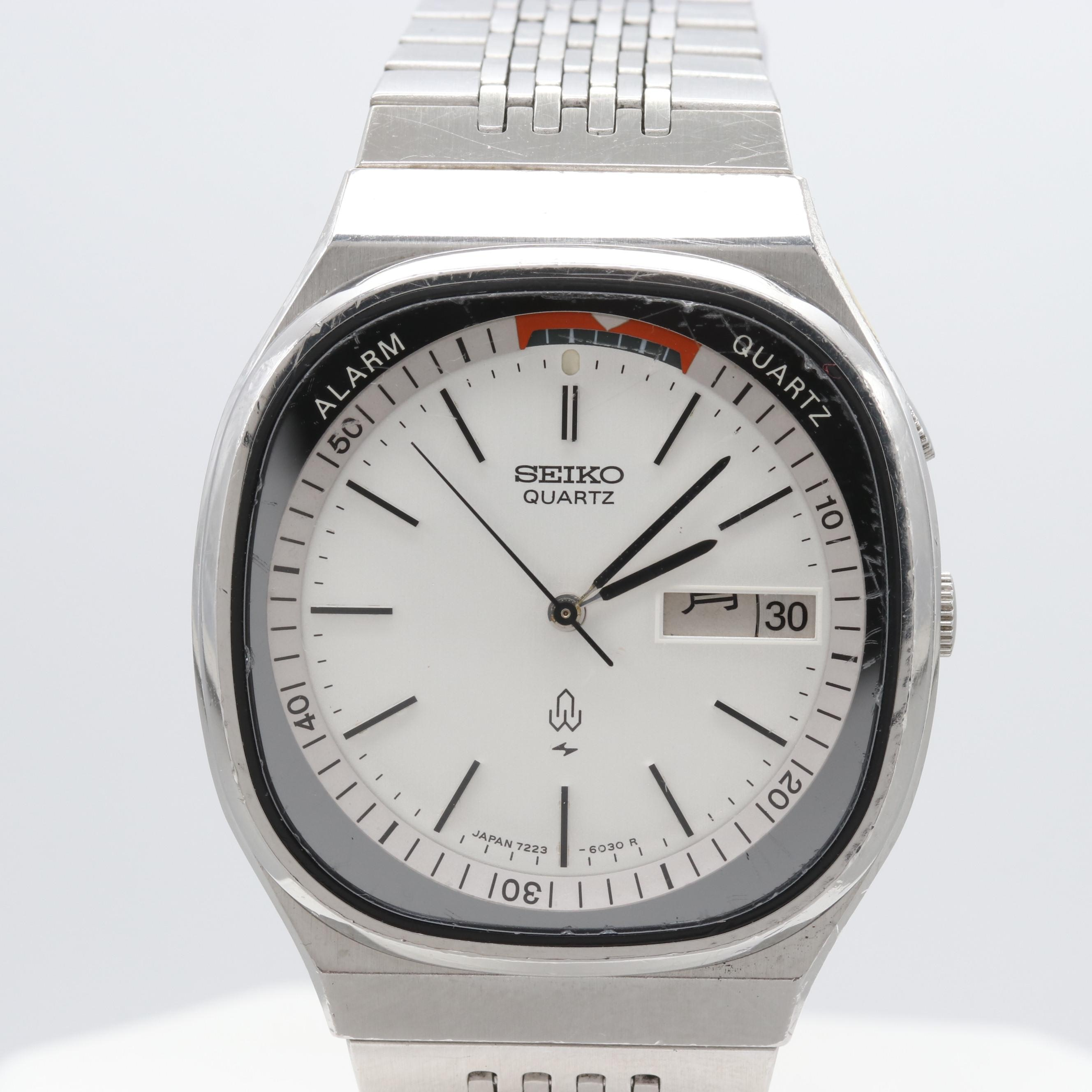 Seiko Stainless Steel Alarm Quartz Wristwatch With Day/Date Window
