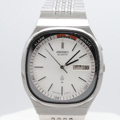 a17cebb9cadc Seiko Stainless Steel Alarm Quartz Wristwatch With Day Date Window
