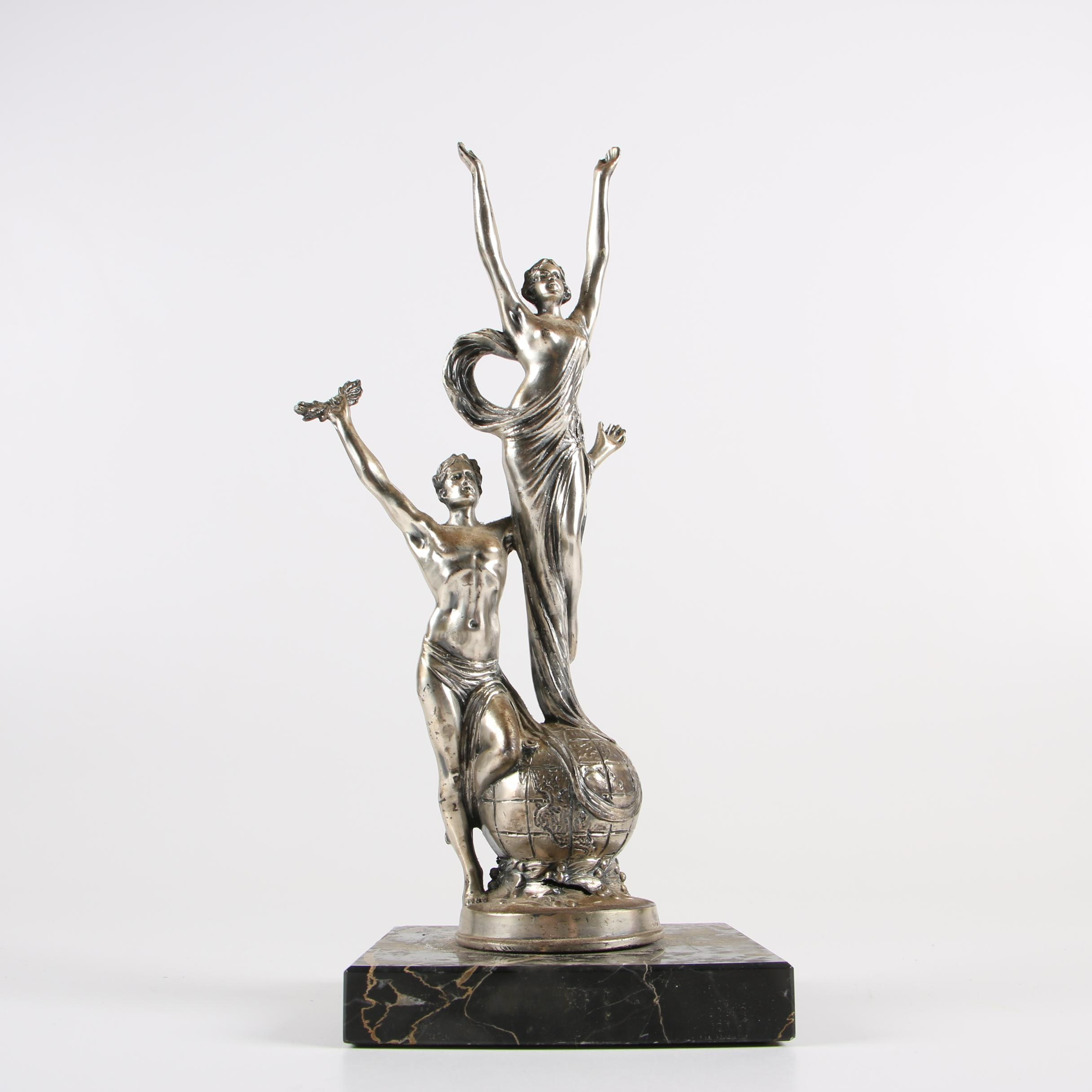 Cast Metal Couple Victory Trophy with Marble Base