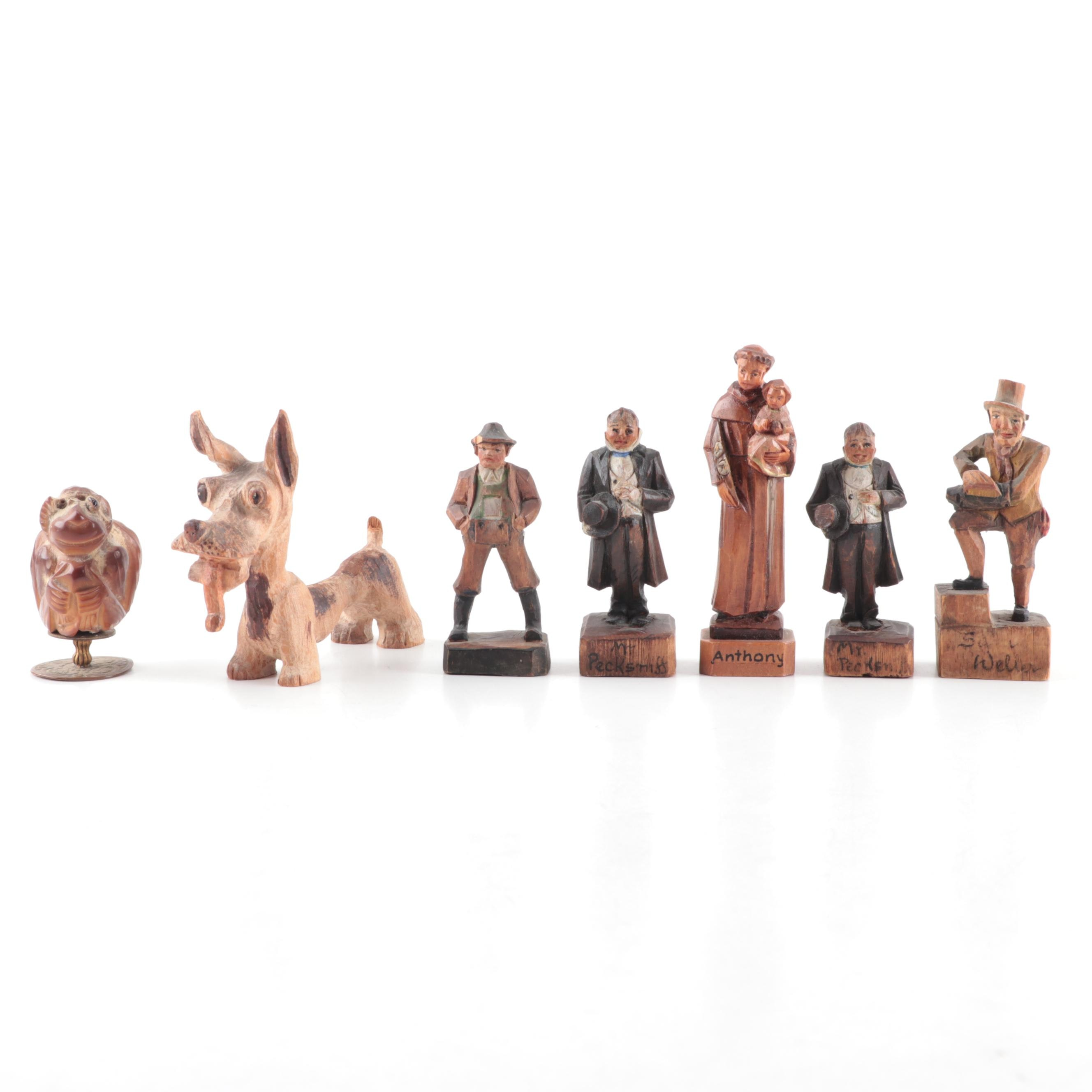 Charles Dickens Hand-Carved Wood Character Figurines and Others