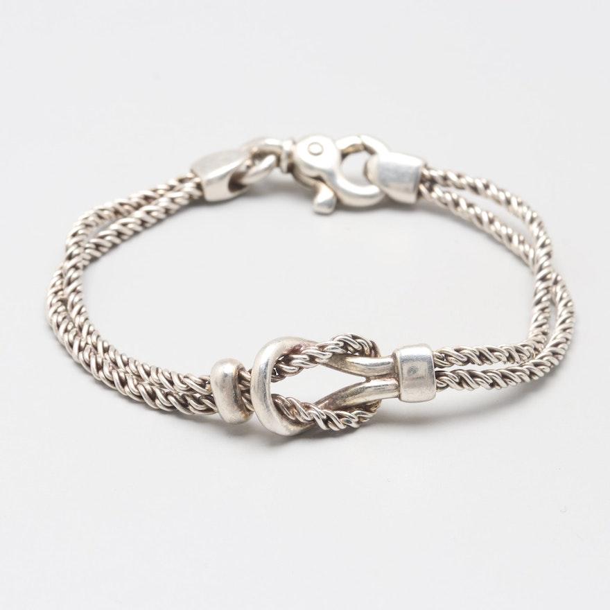 Vintage Tiffany Co Sterling Silver Sailor Knot Double Chain Bracelet Ebth
