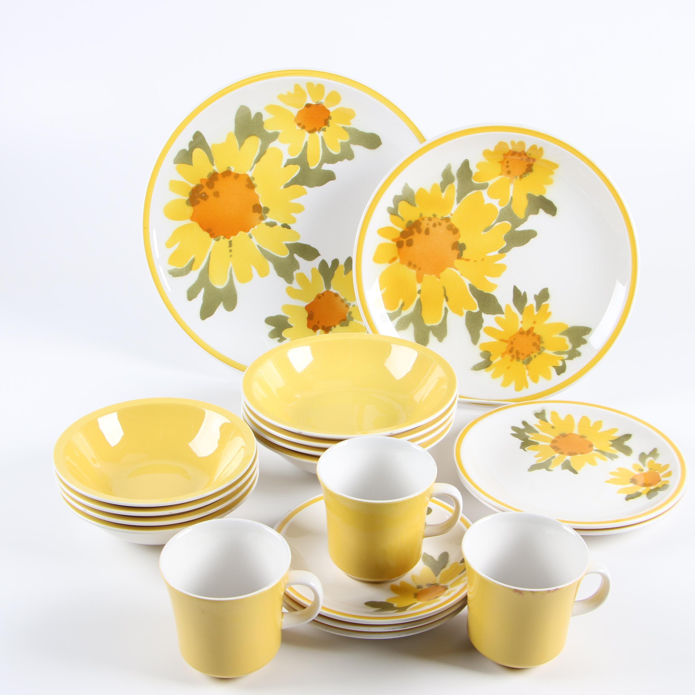 """Vintage Mikasa """"Flora"""" Cera-Stone Dinnerware"""