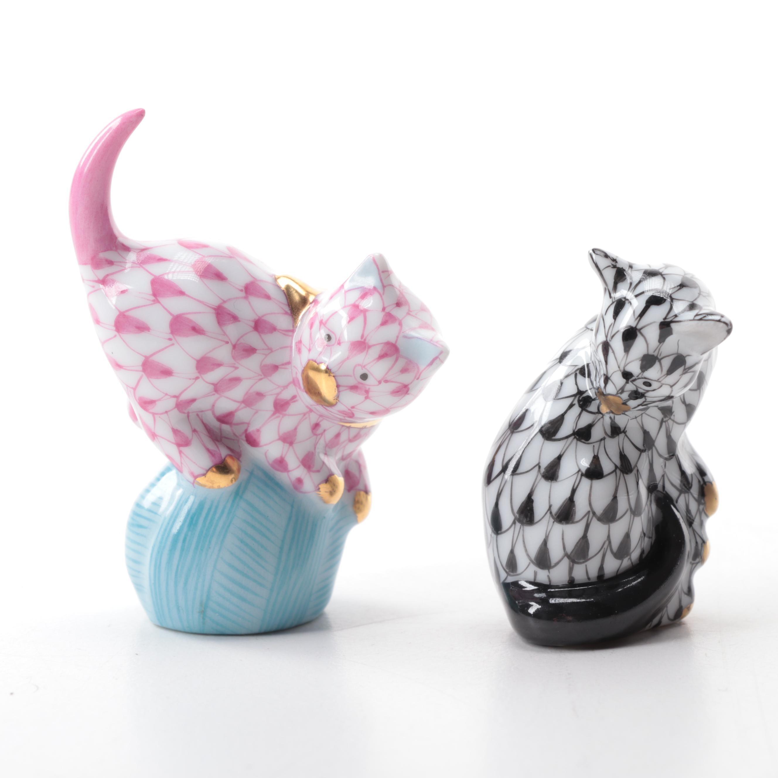 Herend Porcelain Cat Figurines