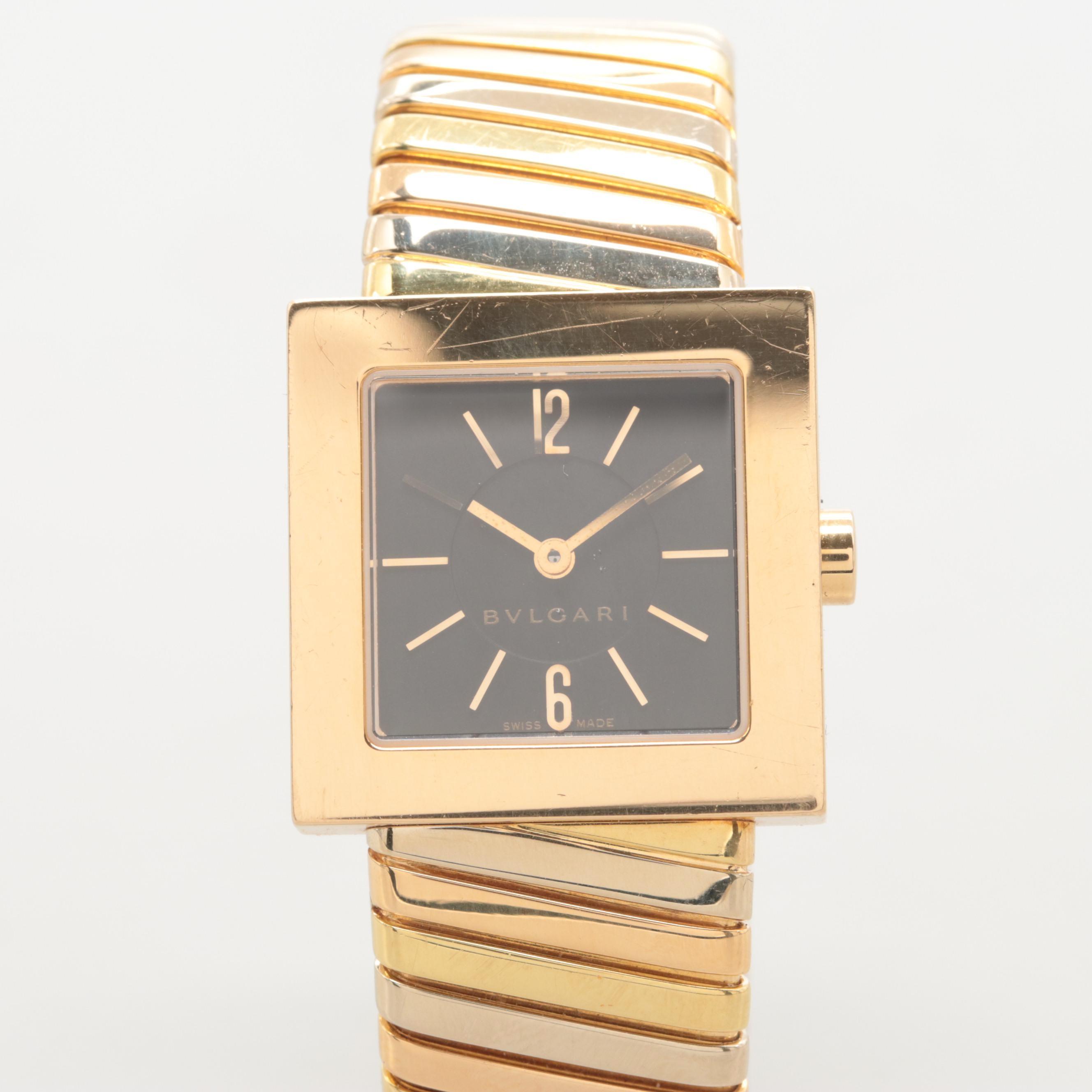 Bulgari Tubogas 18K Gold Quartz Wristwatch With Tri-Color Gold Band