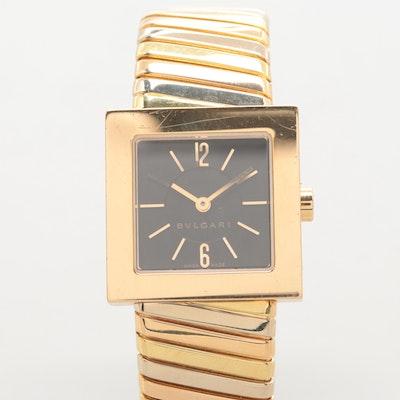 0025691f5657 Bulgari Tubogas 18K Gold Quartz Wristwatch With Tri-Color Gold Band