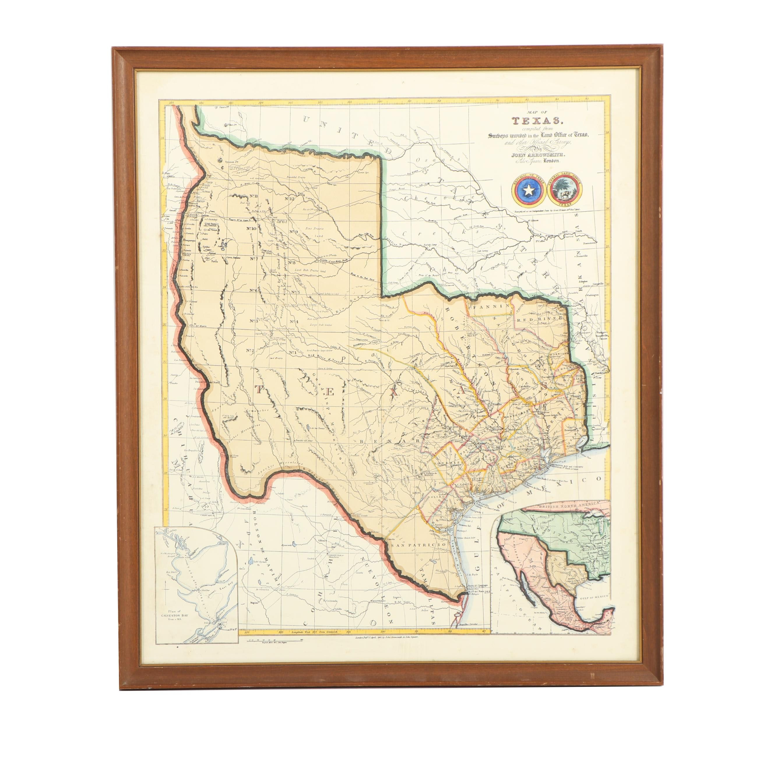 Hand Colored Etched Map Of The Republic Of Texas Ebth