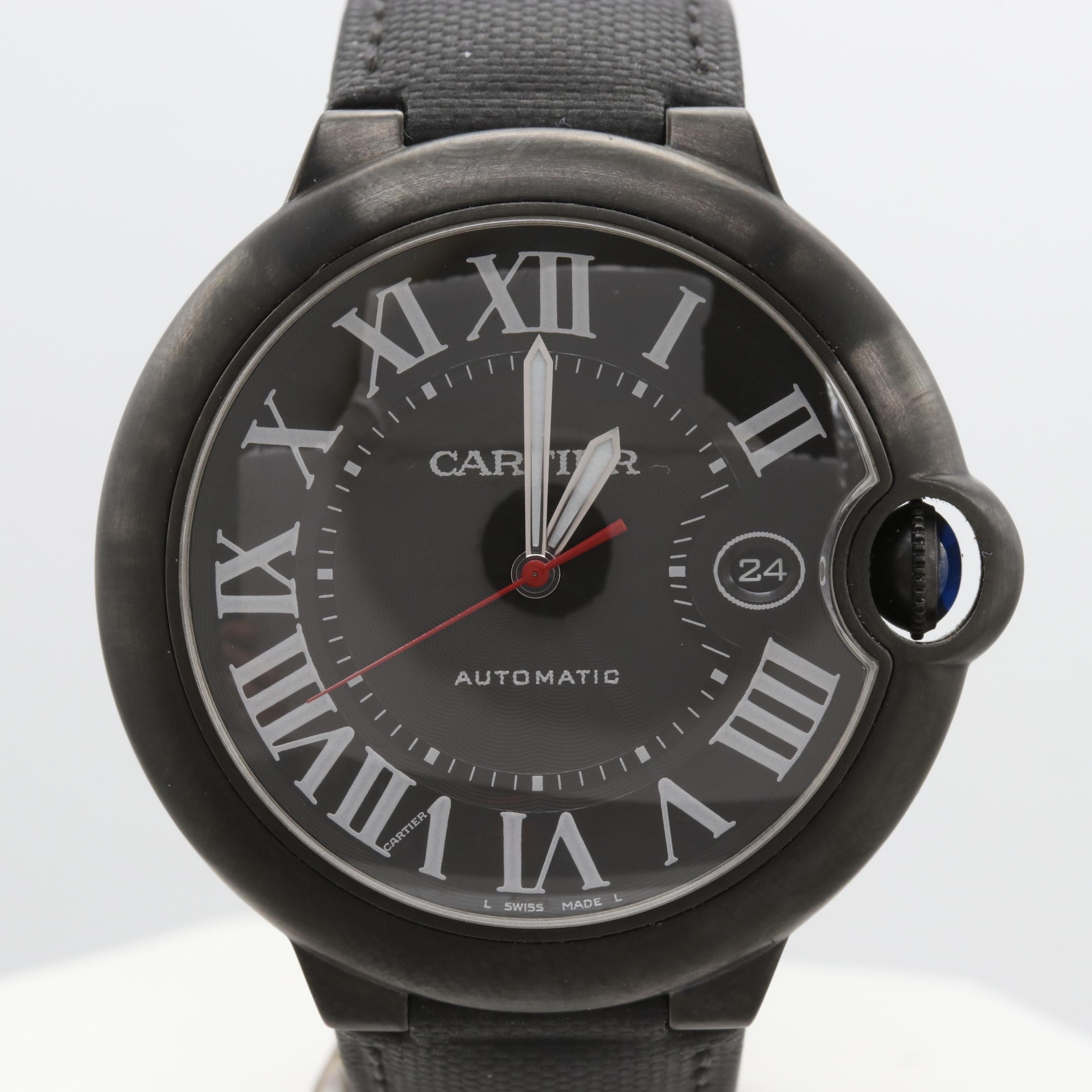 Cartier Ballon Bleu Black DLC Coated Stainless Steel  Wristwatch