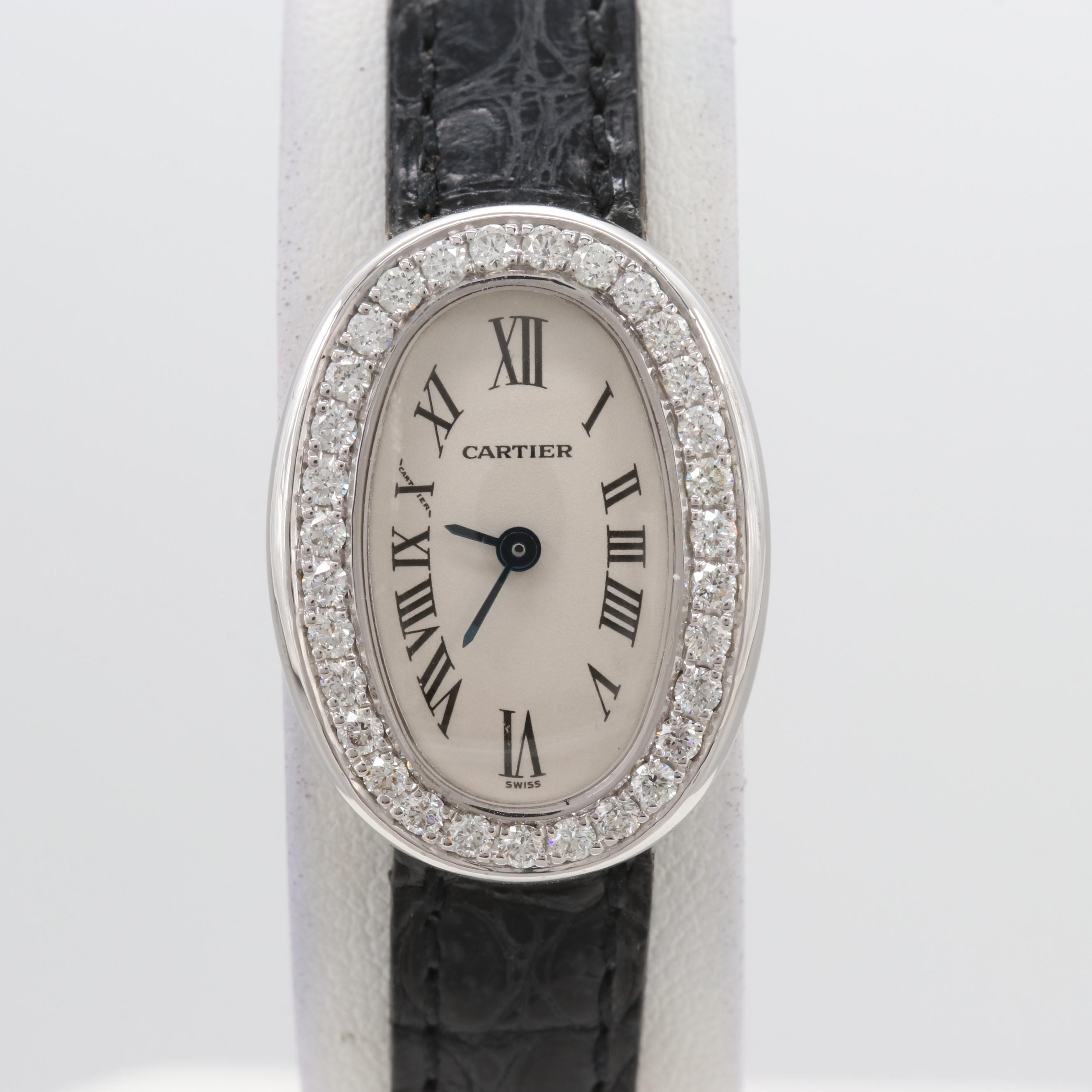 Cartier Baignoire 18K White Gold Diamond Wristwatch