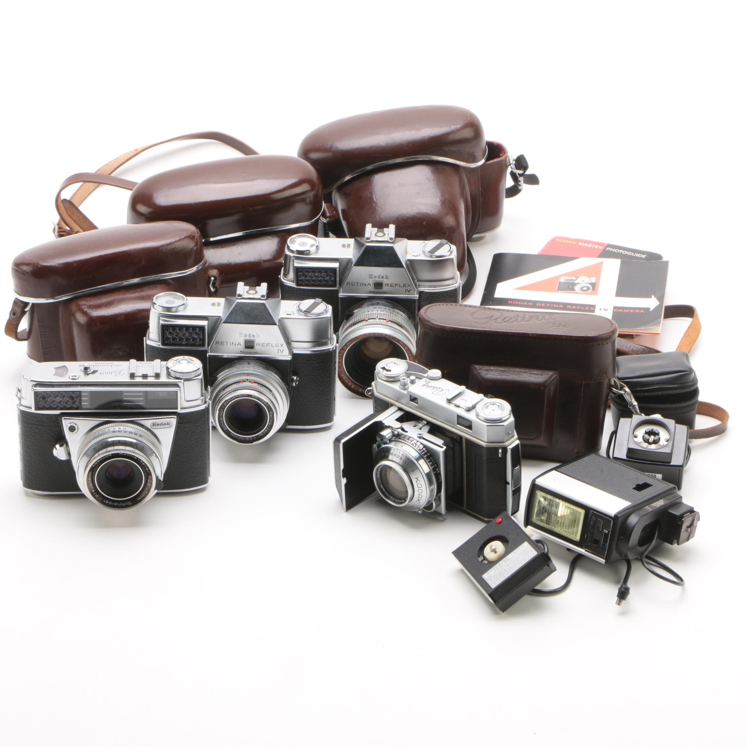 Kodak Retina 35mm Cameras with Cases and Accessories, Mid-Century