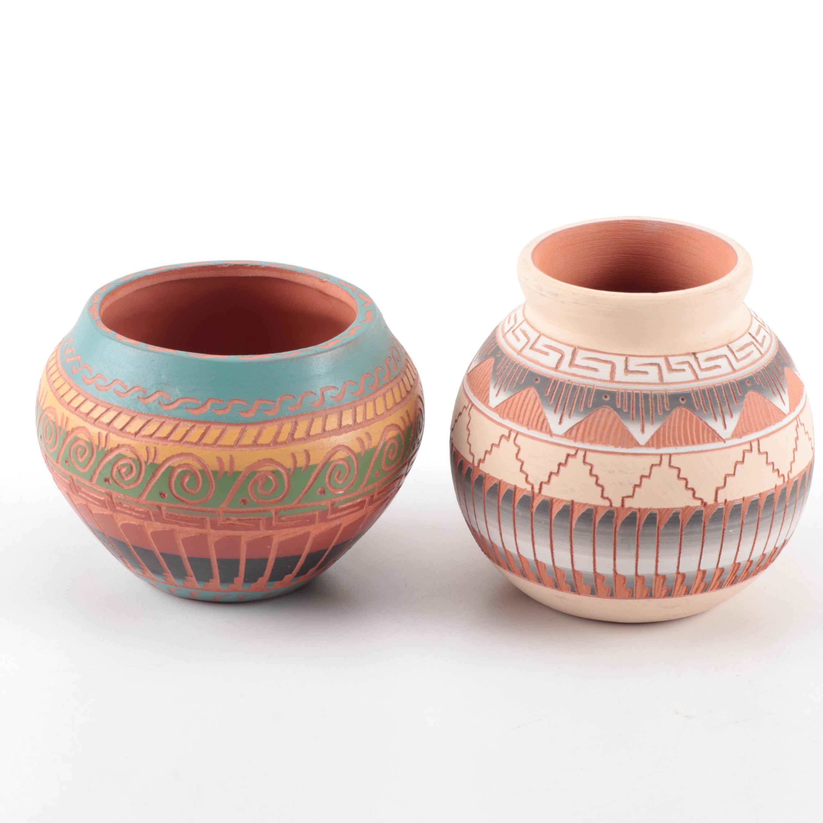 Signed Fannie Whitegoat and S. Jim Navajo Pottery Vessels