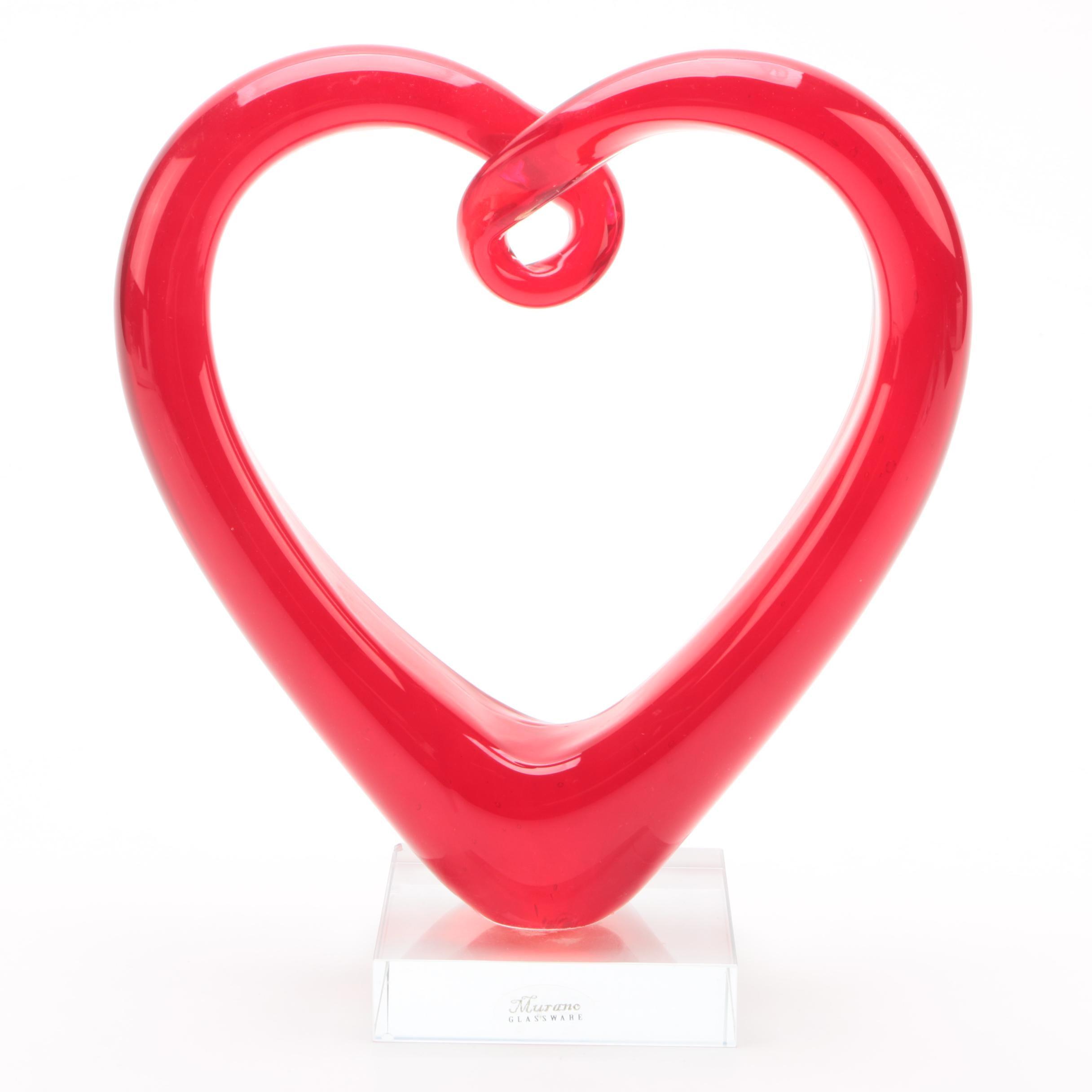 Murano Style Art Glass Heart Sculpture