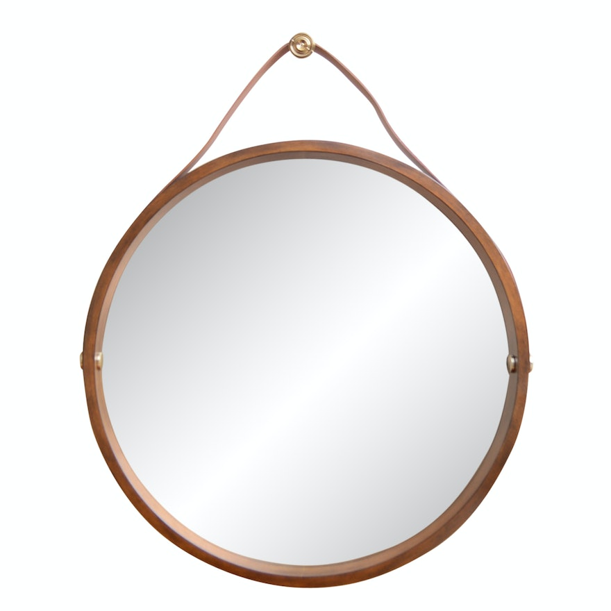 Round Wall Mirror With Dark Wood Frame And Leather Strap