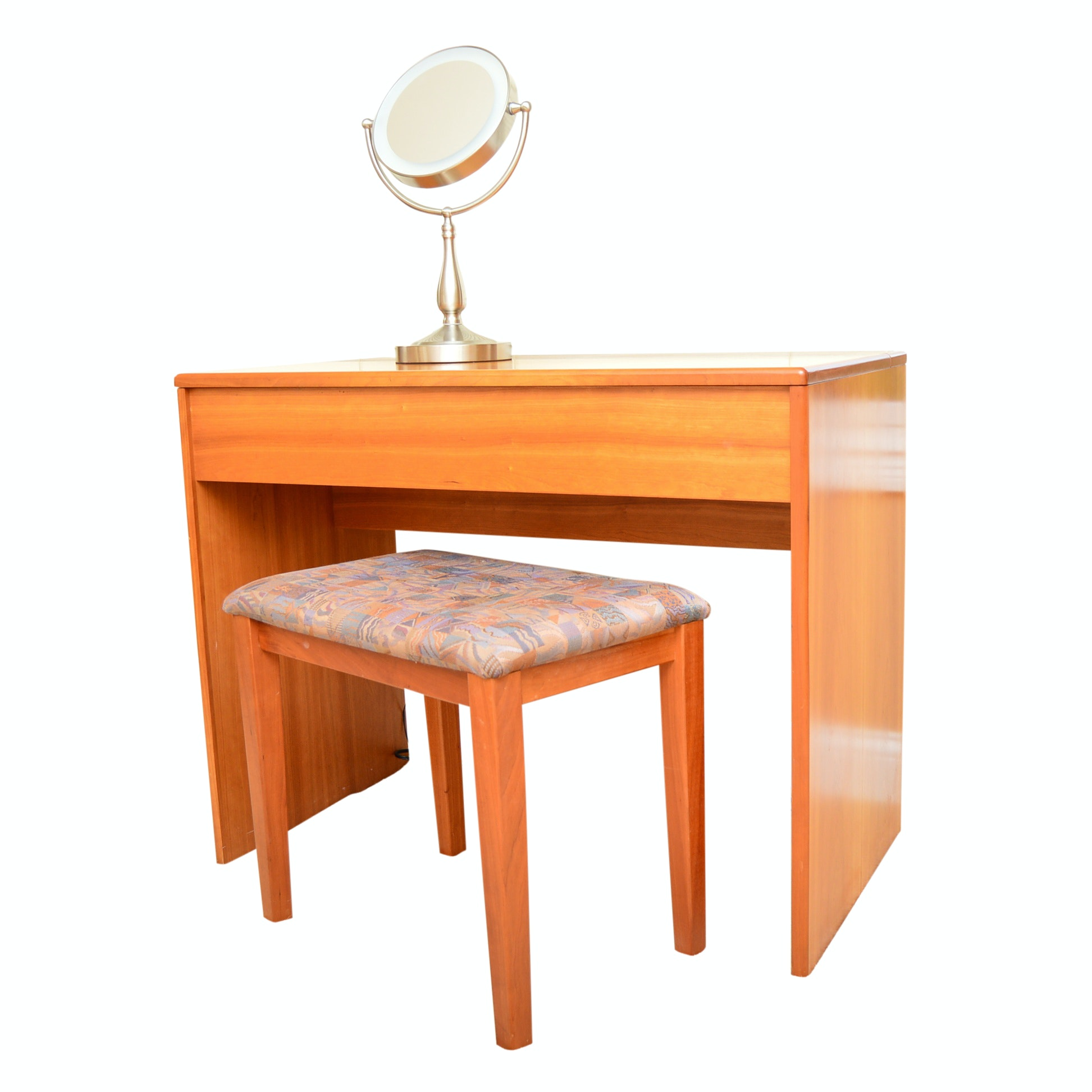 Teak Dressing Table with Bench and Frontgate Makeup Mirror