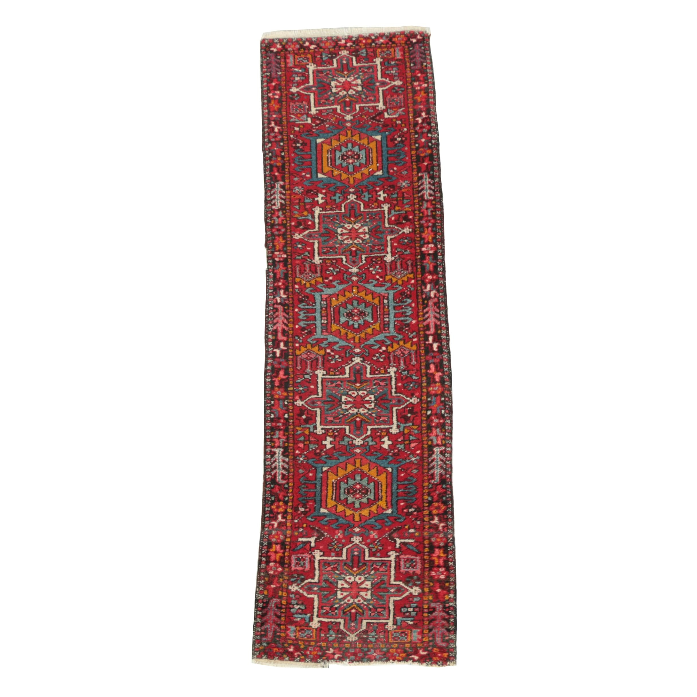 Hand-Knotted Persian Lamberan Heriz Wool Carpet Runner