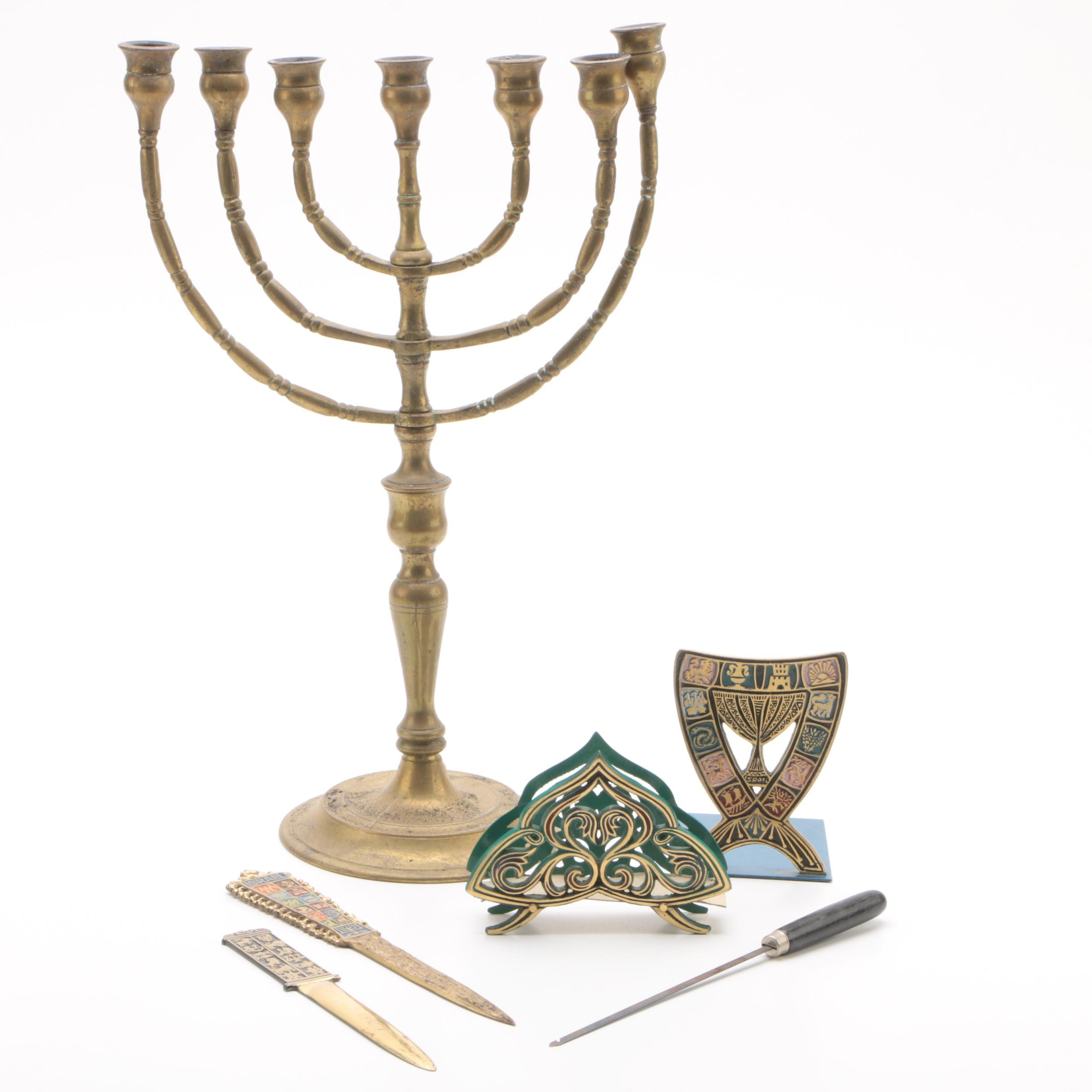 Brass Menorah with Other Judaica and Décor