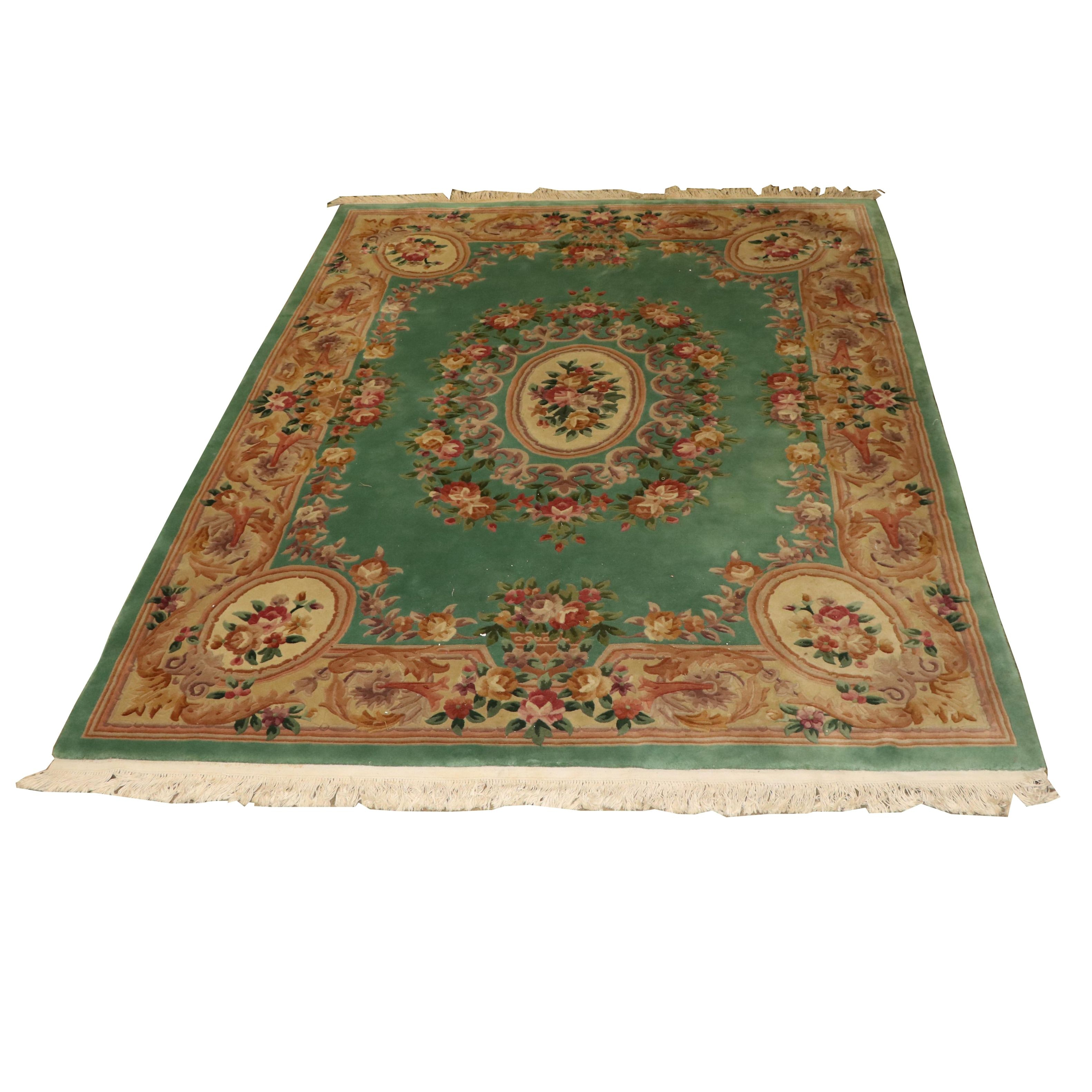 Finely Hand Knotted Chinese Aubusson Style Carved Wool Rug Ebth