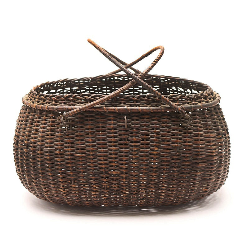 Early 20th Century Double Swing Handle Woven Basket
