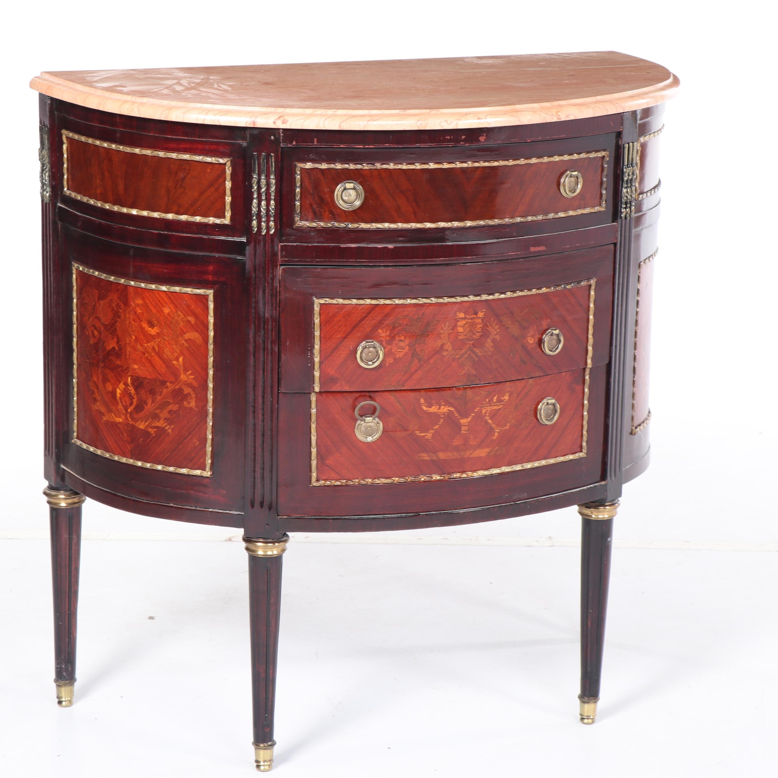 Louis XVI Style Mahogany and Marble Demilune Chest, Mid 20th Century