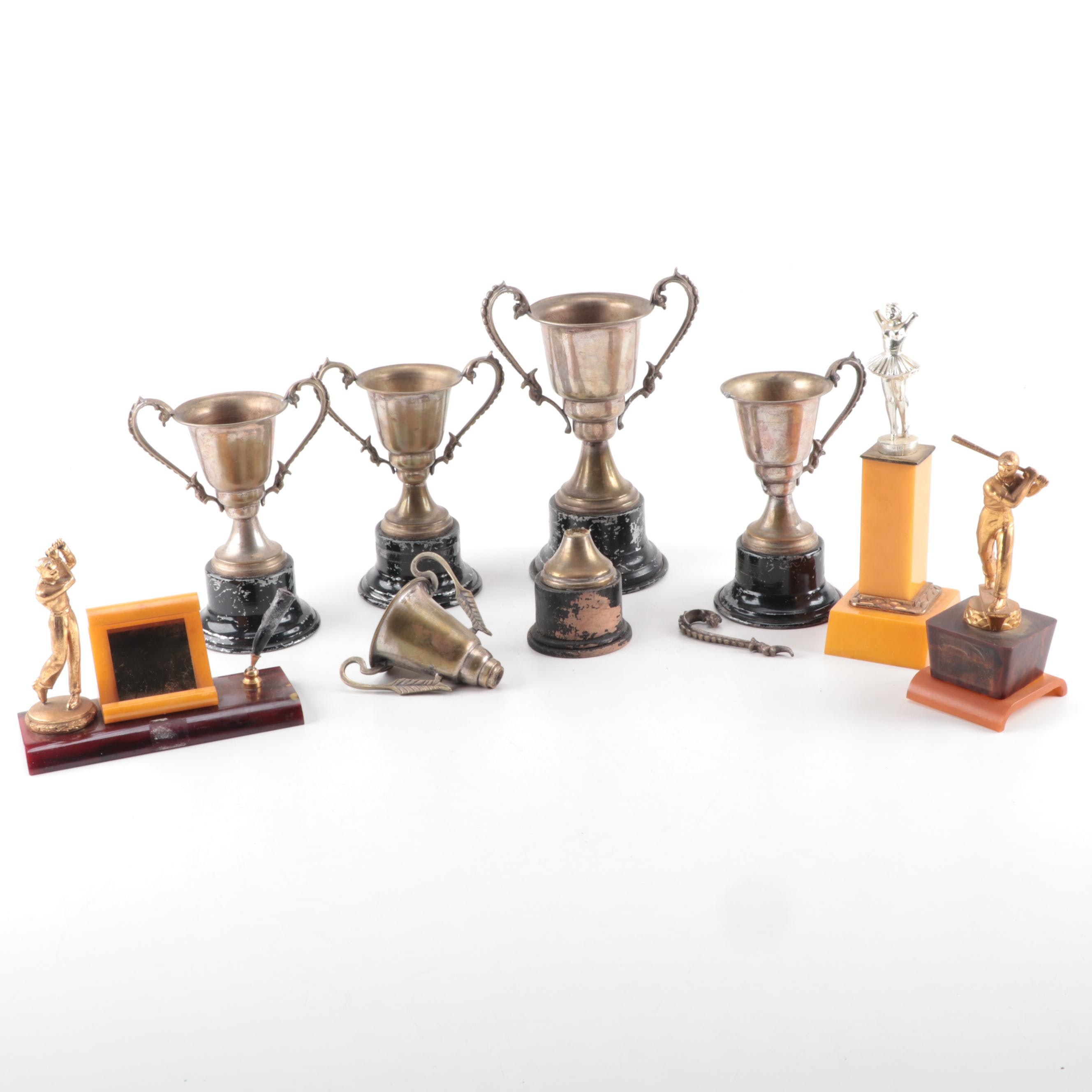 Vintage Loving Cup and Other Trophies